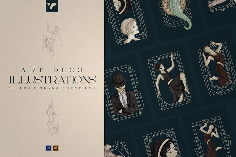 12 Art Deco illustrations - Ai, EPS, PSD - 1 1ad2fb41 003c 46d7 9992 82409e3b6aba 800x
