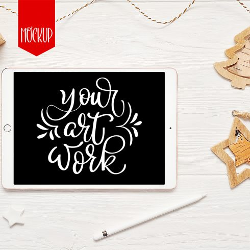 christmas psd mockup ipad