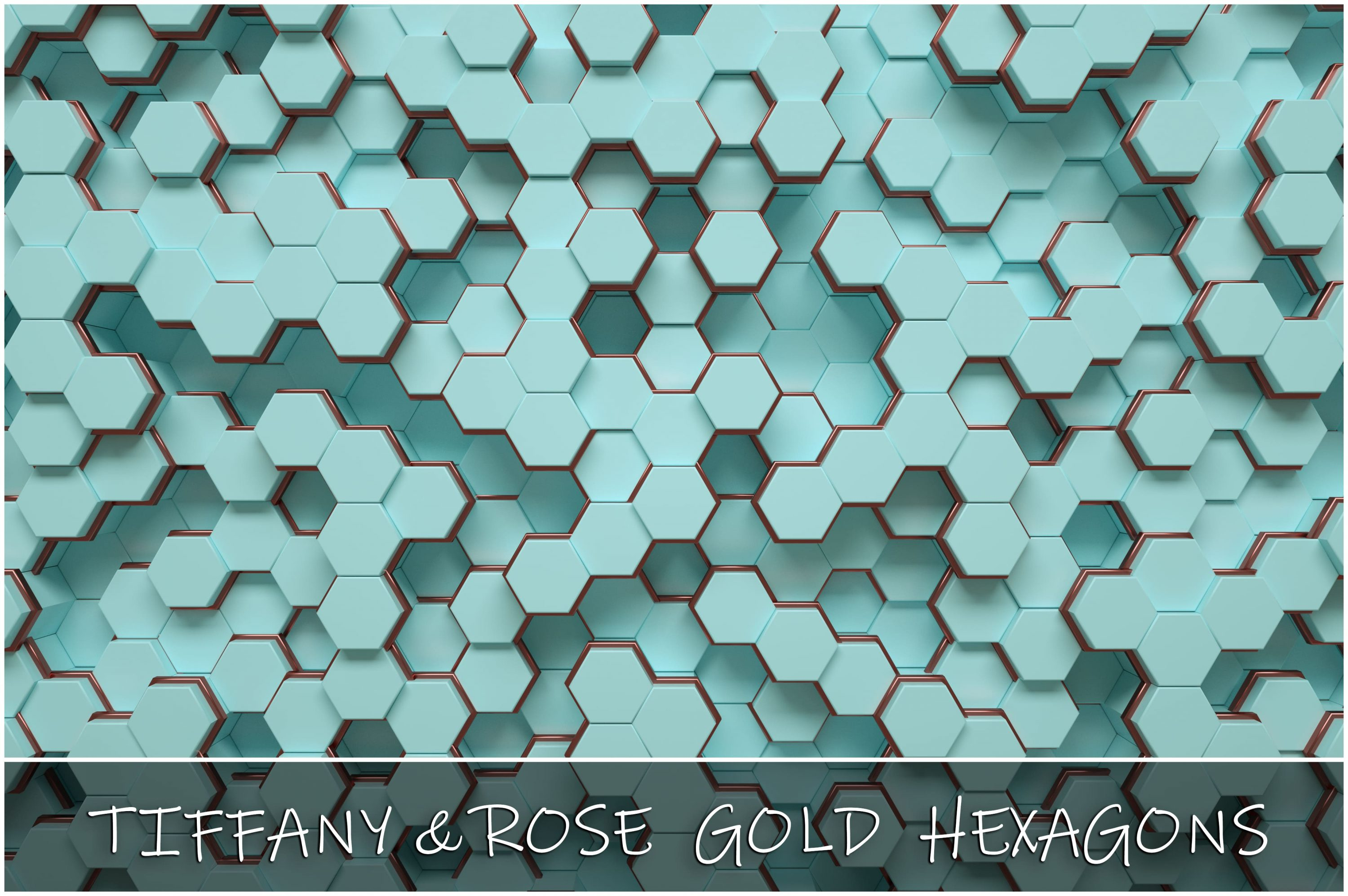 Tiffany & Rose Gold Hexagon Backgrounds - 30 main