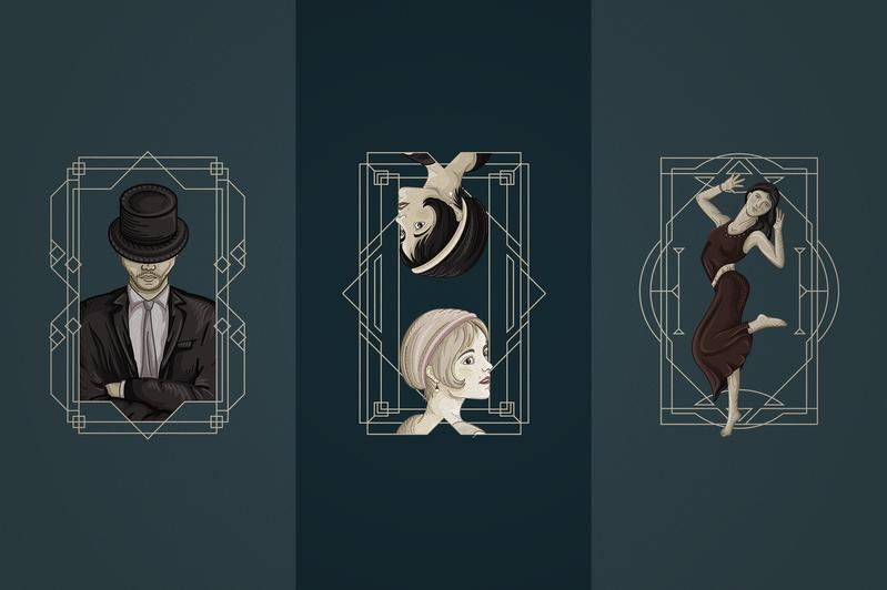 12 Art Deco illustrations - Ai, EPS, PSD - 7 5e4ae547 7684 4b05 a8cb 78d1e0eca81d 800x
