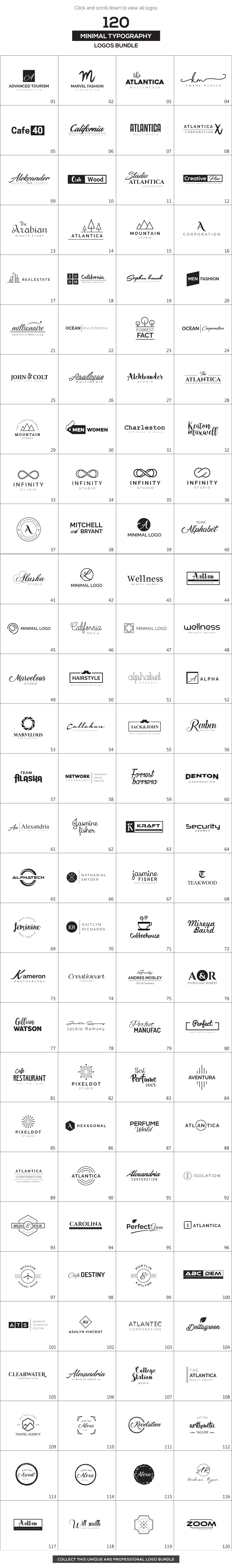 120 Minimal Typography Logos Bundle - All preview 120 MinT