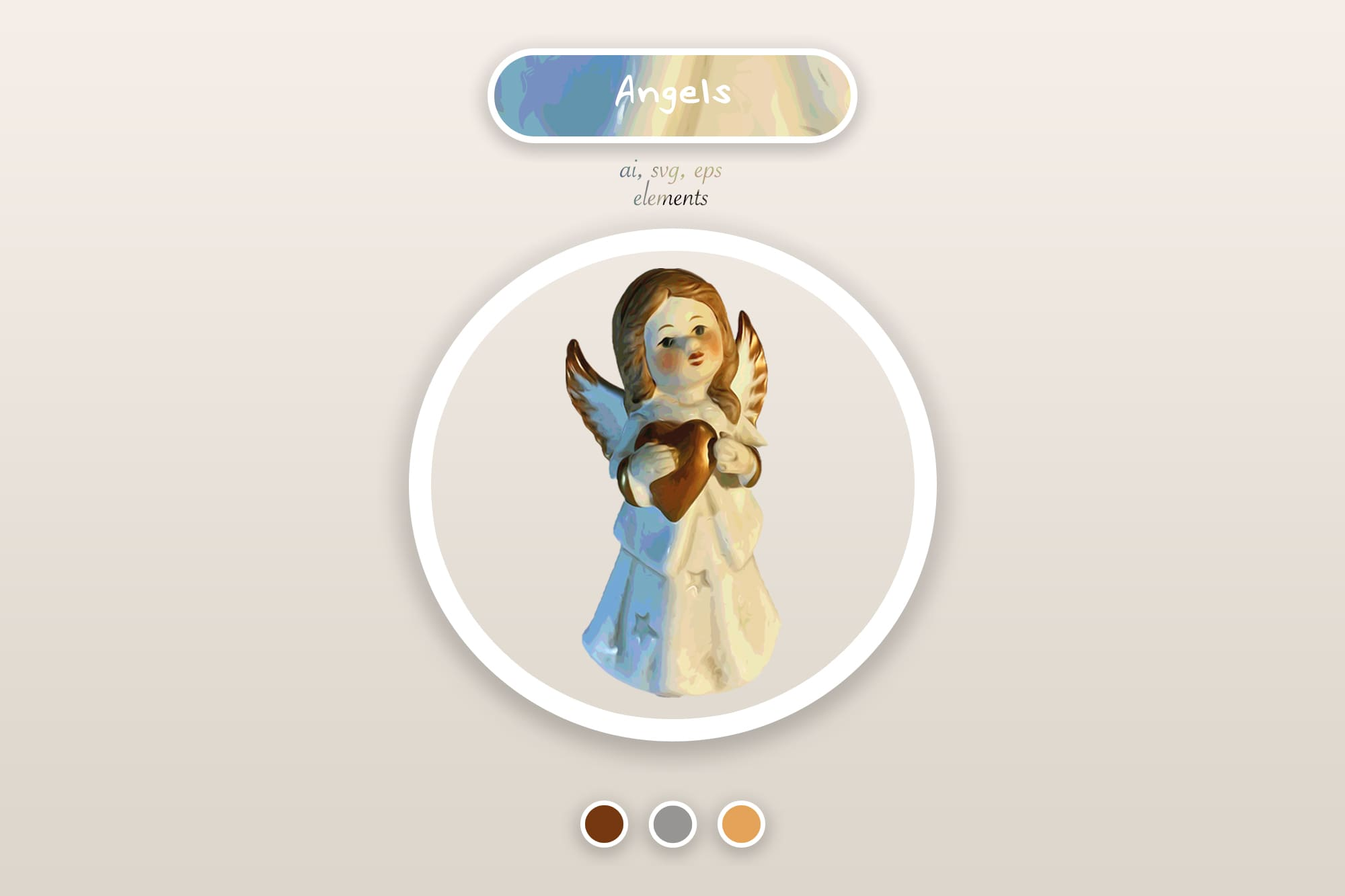 496 Christmas Illustrations: Christmas Vectors Bundle SVG, EPS, AI - Angel 1a