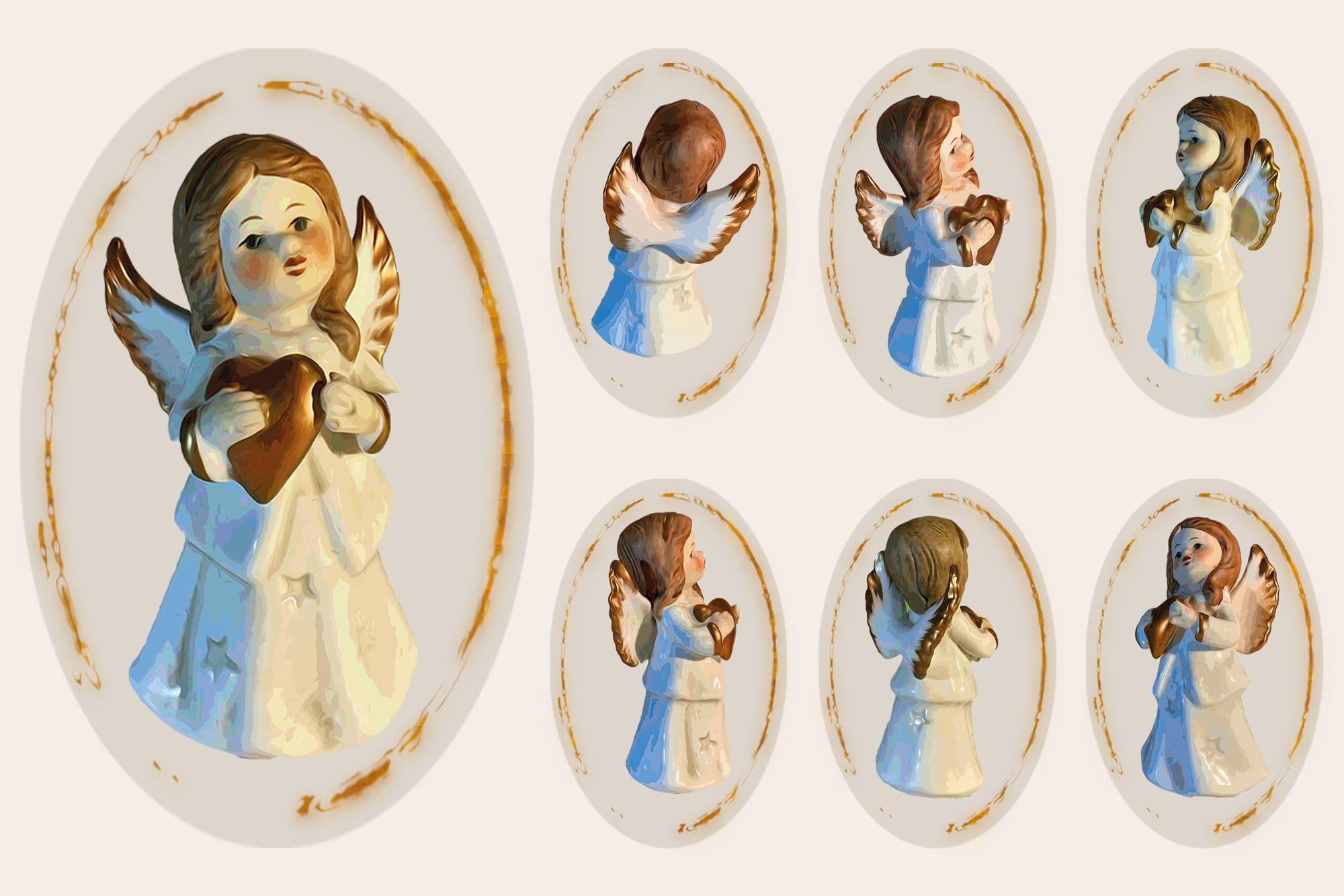496 Christmas Illustrations: Christmas Vectors Bundle SVG, EPS, AI - Angel 1c