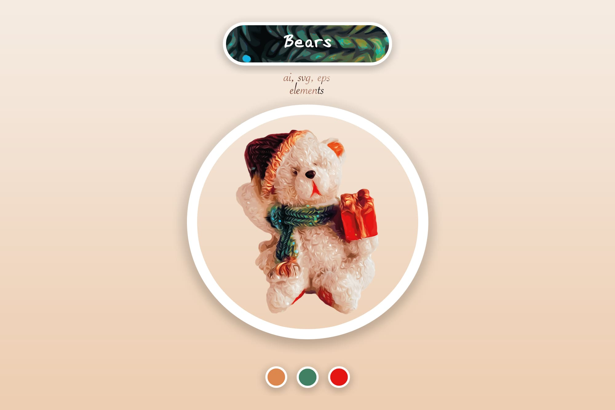 496 Christmas Illustrations: Christmas Vectors Bundle SVG, EPS, AI - Bears 2a