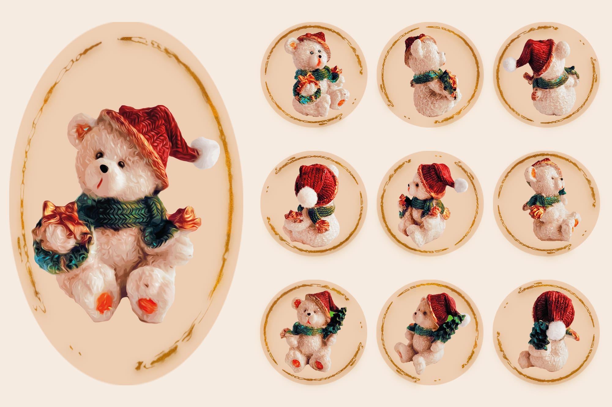 496 Christmas Illustrations: Christmas Vectors Bundle SVG, EPS, AI - Bears 2c