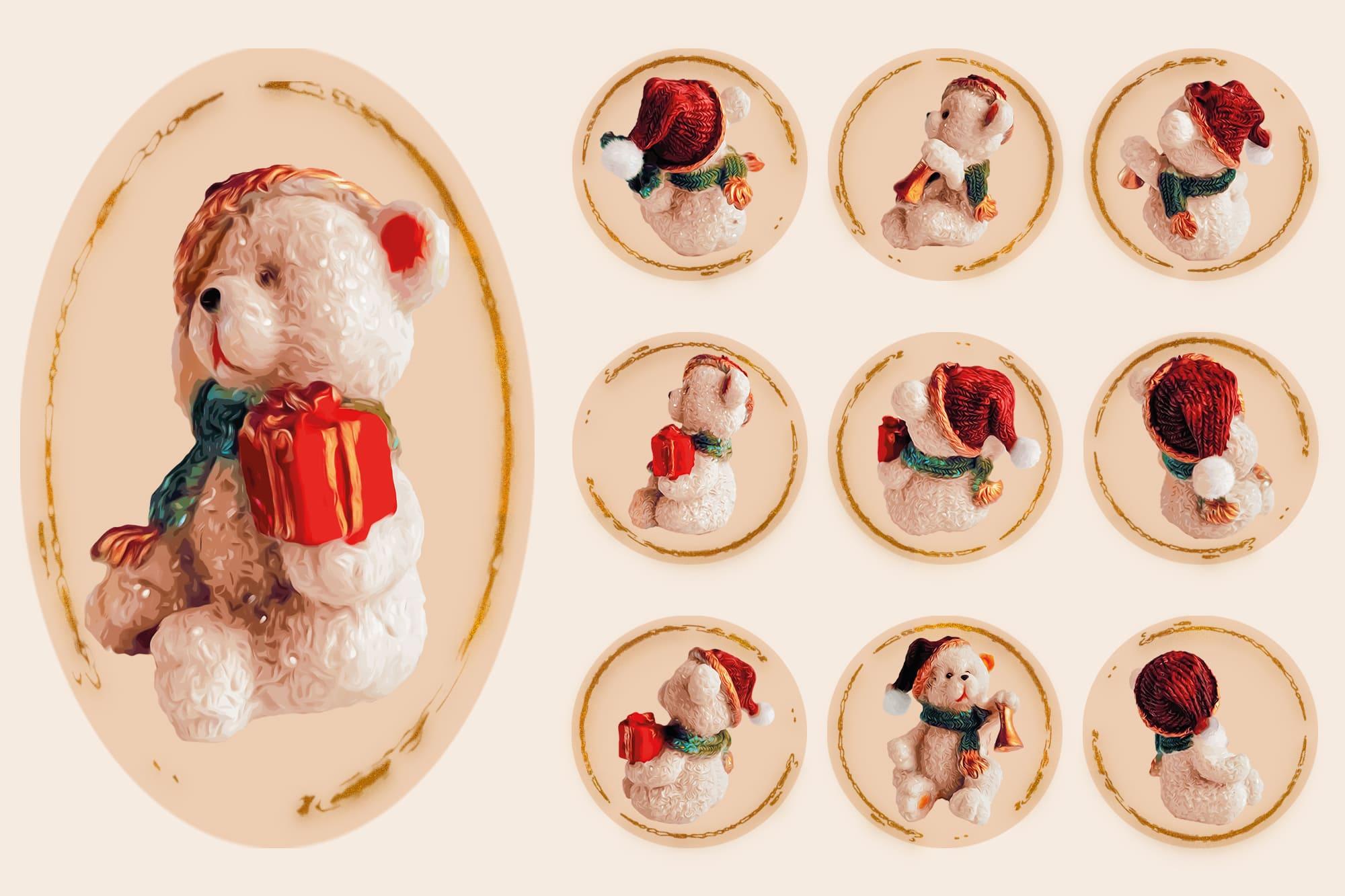 496 Christmas Illustrations: Christmas Vectors Bundle SVG, EPS, AI - Bears 2d