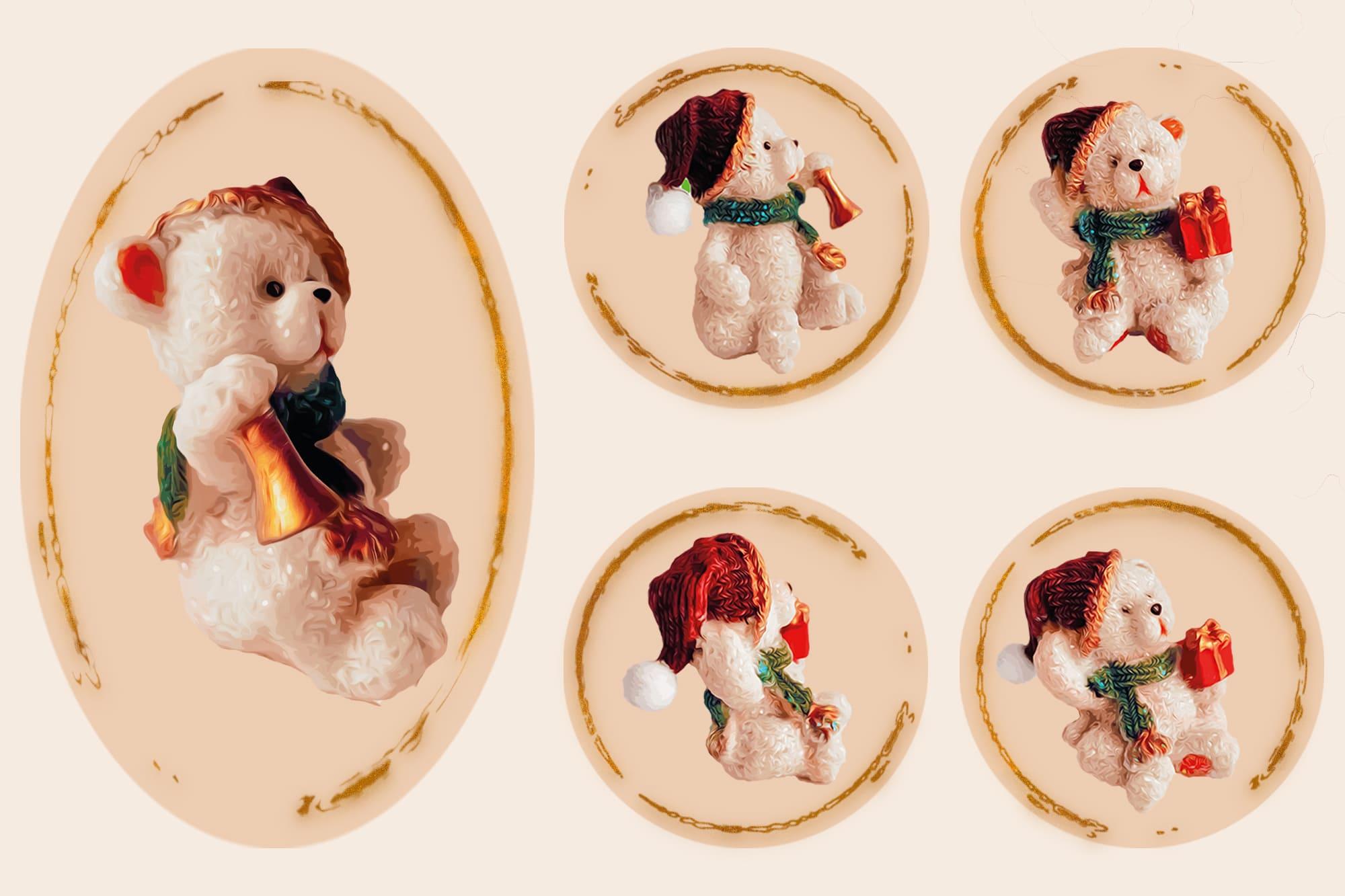 496 Christmas Illustrations: Christmas Vectors Bundle SVG, EPS, AI - Bears 2e