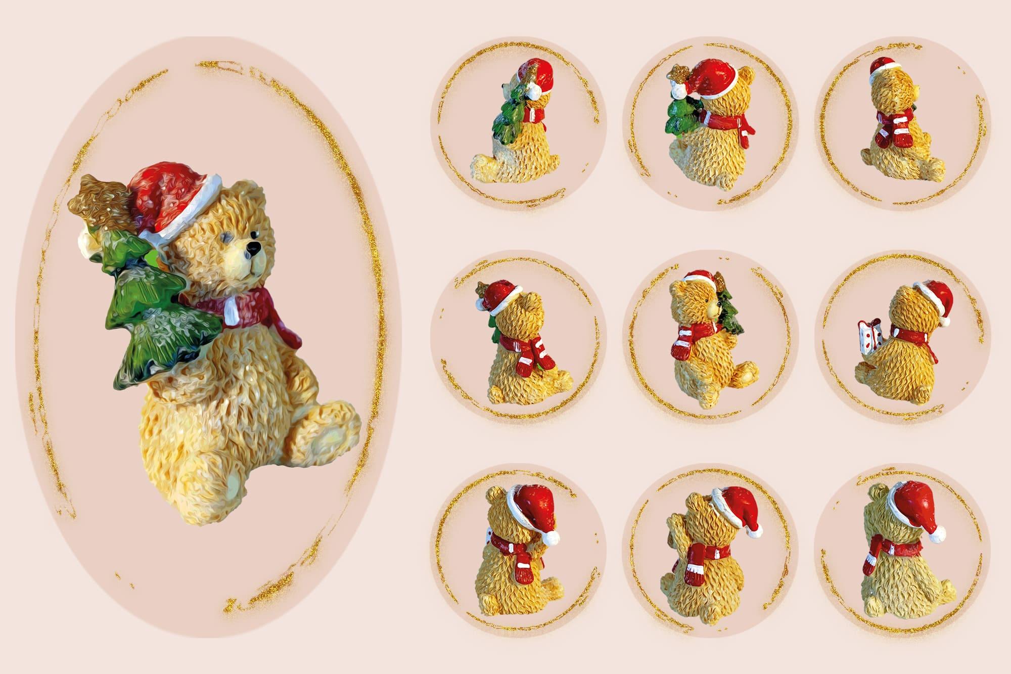 496 Christmas Illustrations: Christmas Vectors Bundle SVG, EPS, AI - Bears 3c