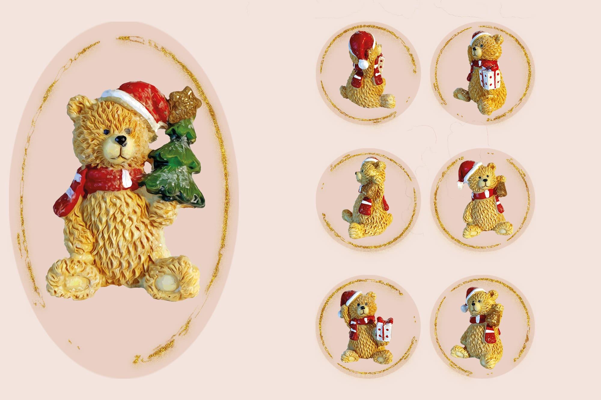 496 Christmas Illustrations: Christmas Vectors Bundle SVG, EPS, AI - Bears 3d