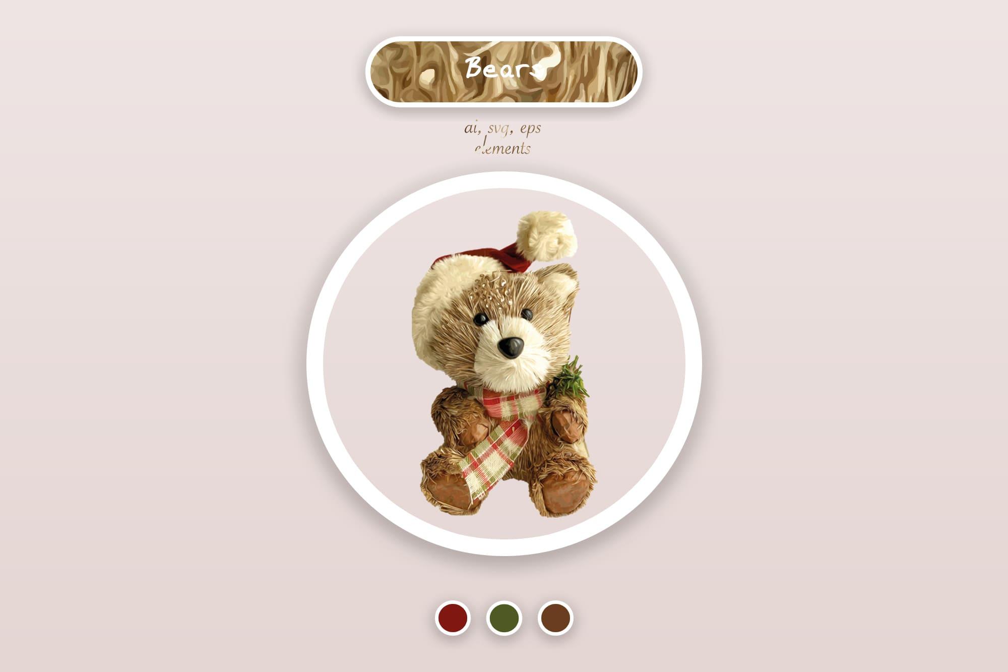 496 Christmas Illustrations: Christmas Vectors Bundle SVG, EPS, AI - Bears 4a