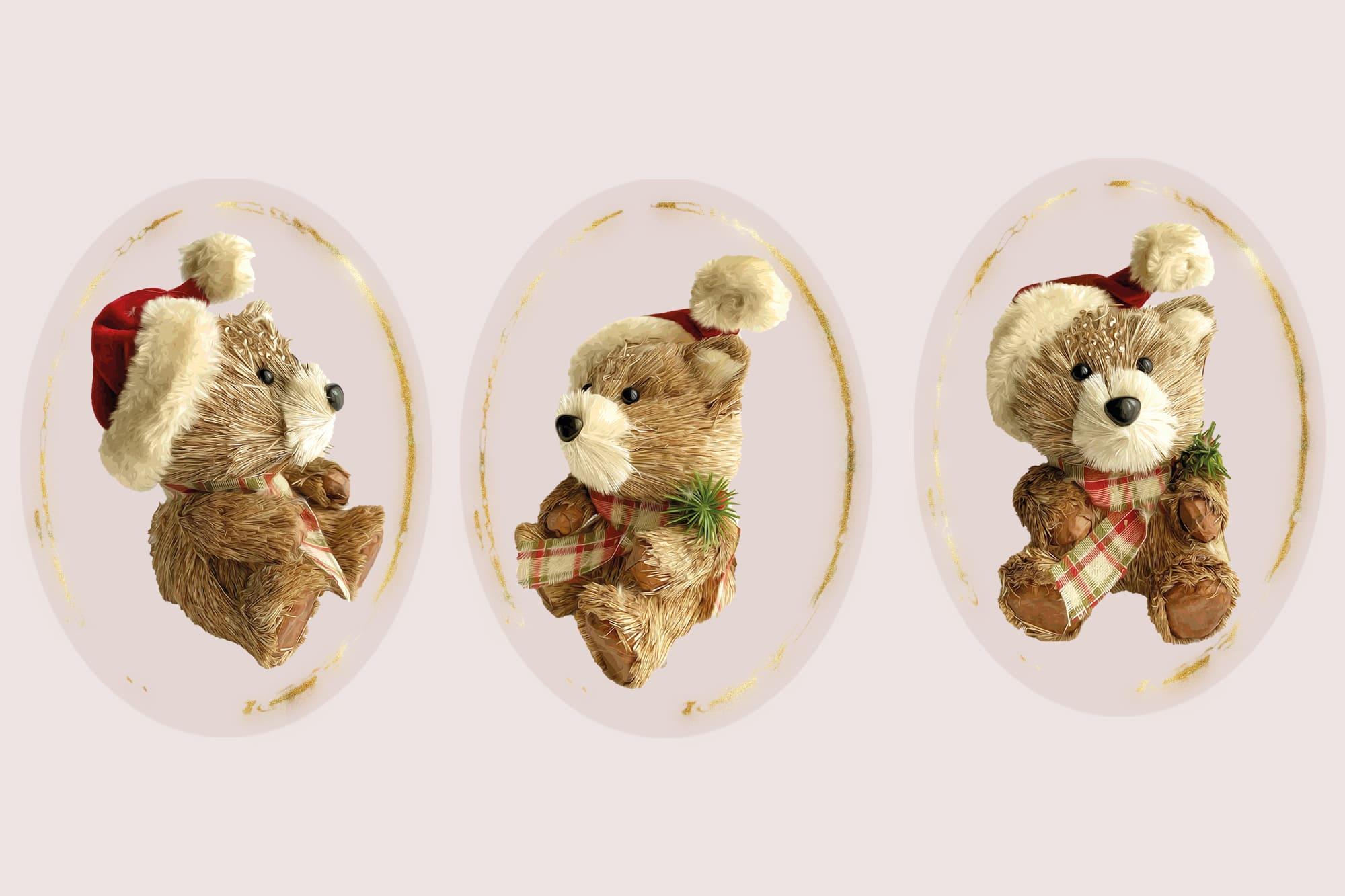 496 Christmas Illustrations: Christmas Vectors Bundle SVG, EPS, AI - Bears 4c