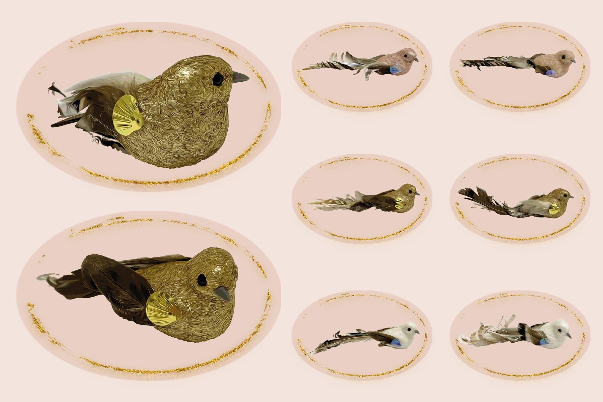 496 Christmas Illustrations: Christmas Vectors Bundle SVG, EPS, AI - Birds 2c