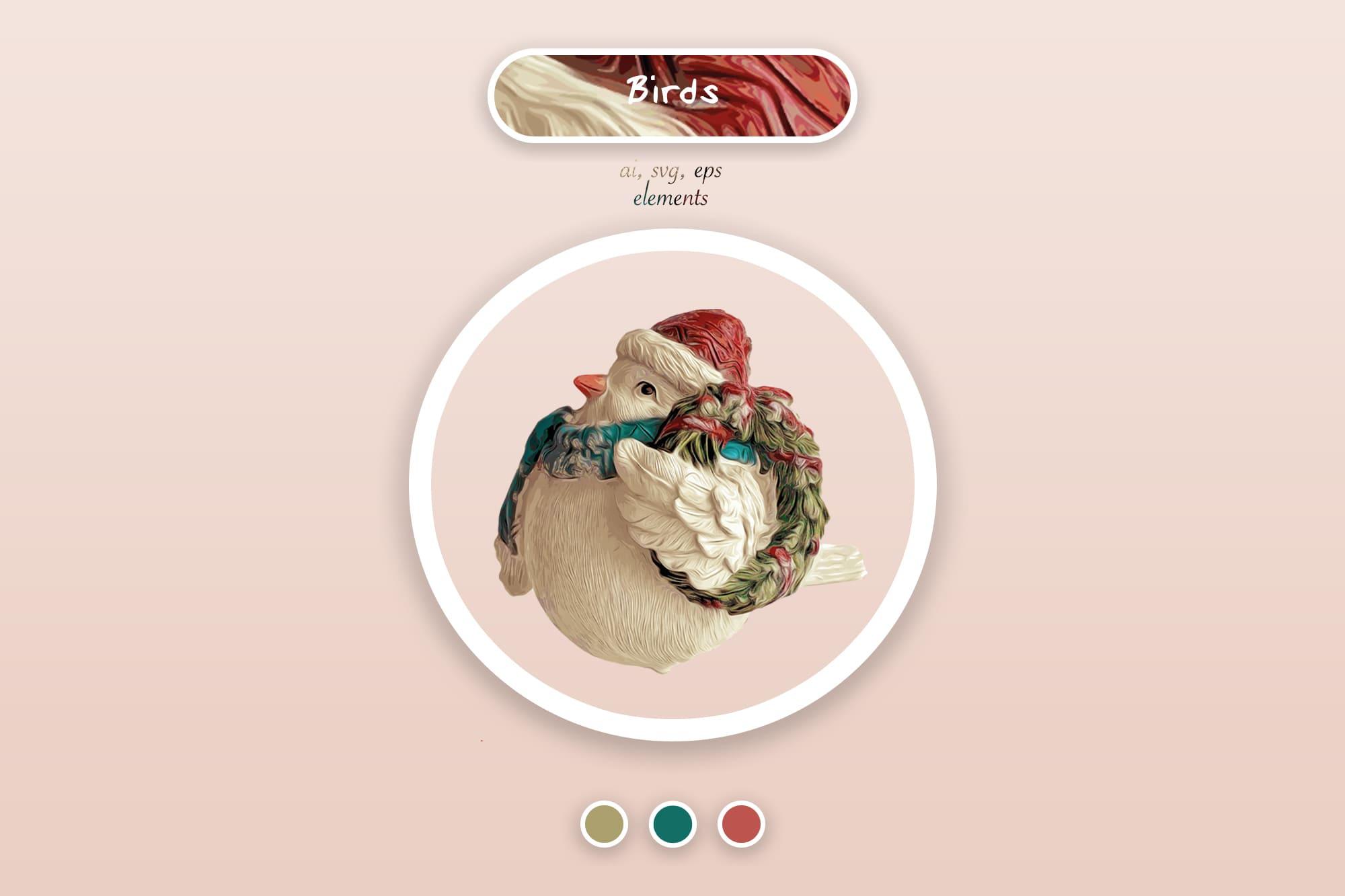 496 Christmas Illustrations: Christmas Vectors Bundle SVG, EPS, AI - Birds 4a