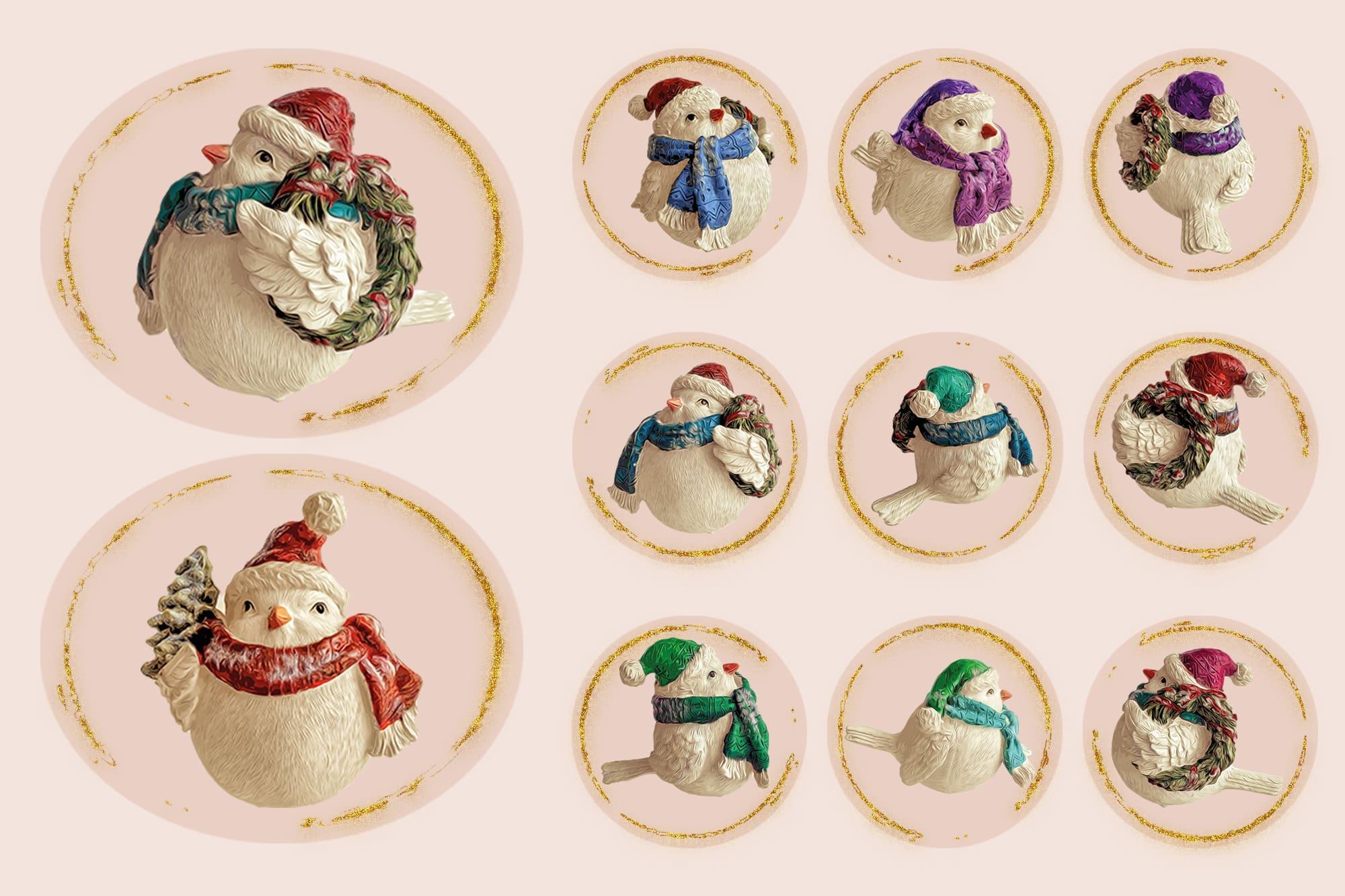496 Christmas Illustrations: Christmas Vectors Bundle SVG, EPS, AI - Birds 4c