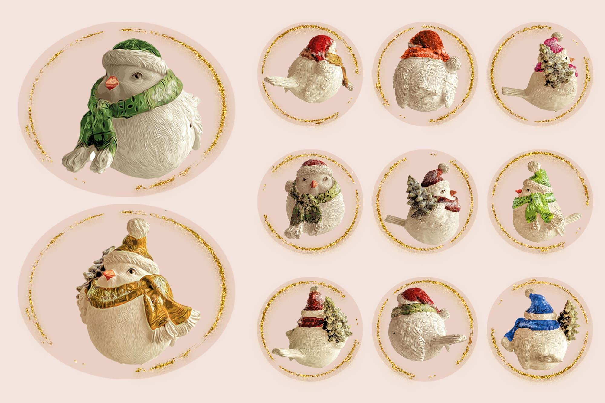 496 Christmas Illustrations: Christmas Vectors Bundle SVG, EPS, AI - Birds 4d