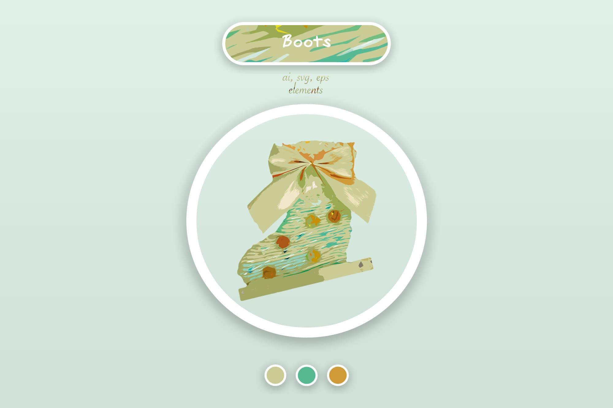 496 Christmas Illustrations: Christmas Vectors Bundle SVG, EPS, AI - Boots a
