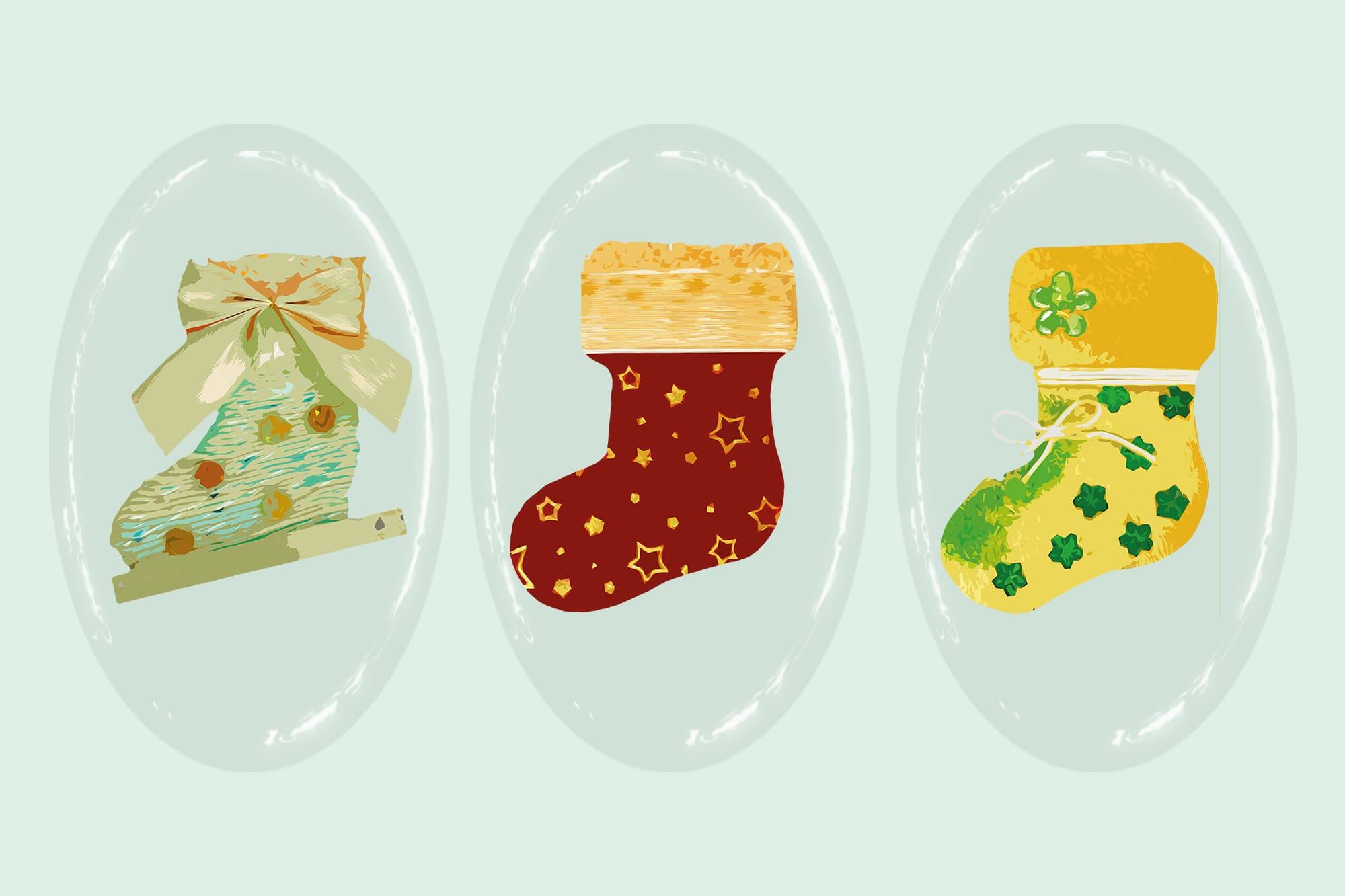 496 Christmas Illustrations: Christmas Vectors Bundle SVG, EPS, AI - Boots c