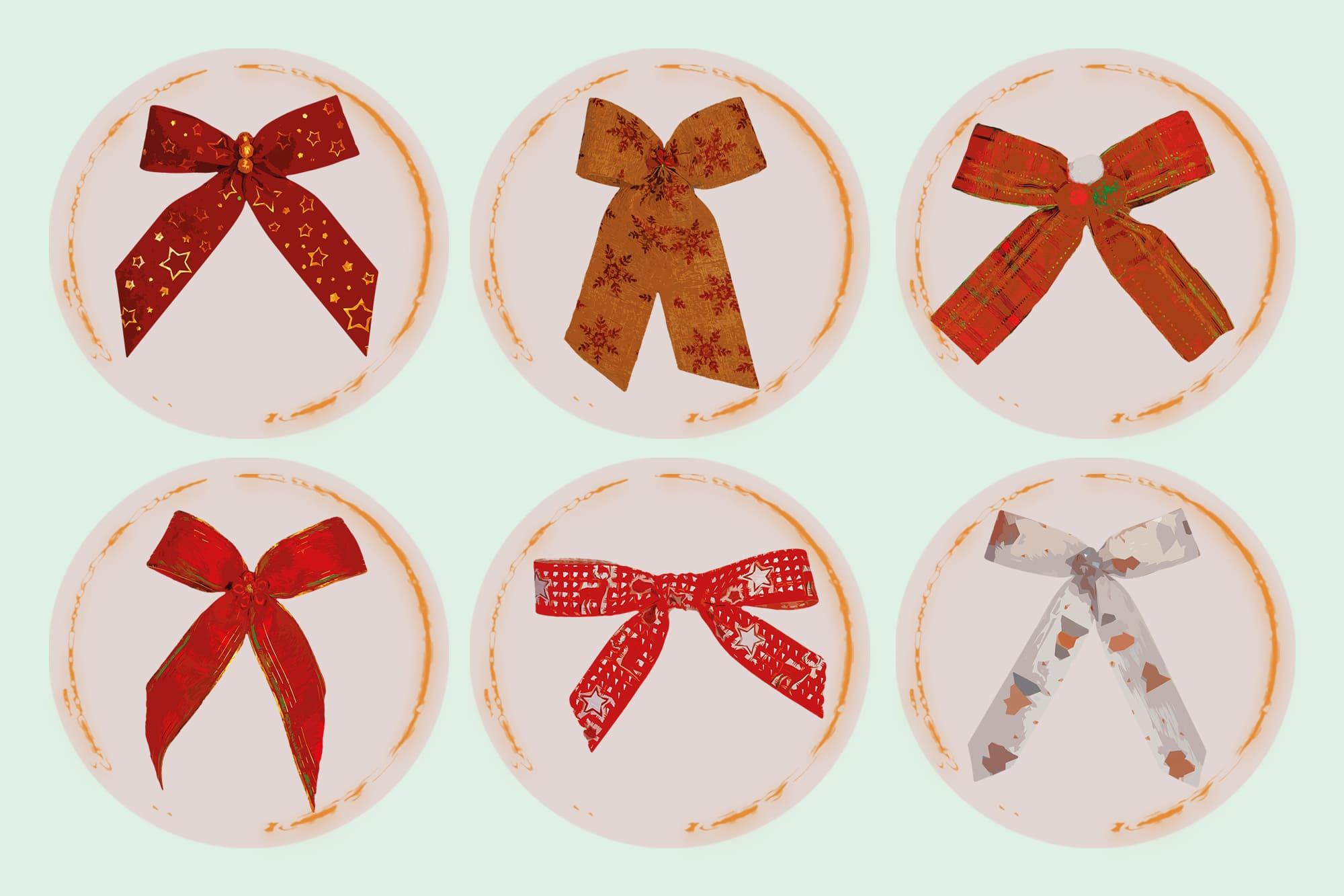 496 Christmas Illustrations: Christmas Vectors Bundle SVG, EPS, AI - Bows c