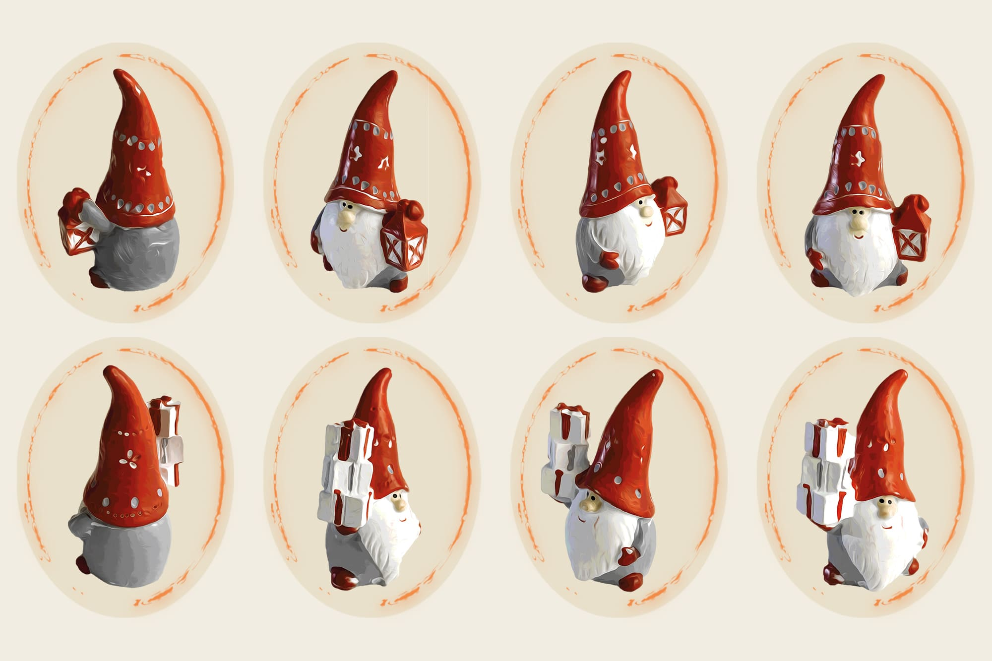496 Christmas Illustrations: Christmas Vectors Bundle SVG, EPS, AI - Gnomes c