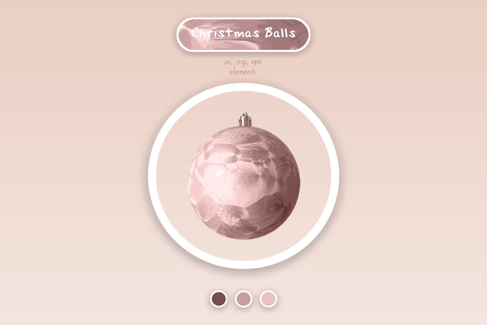 496 Christmas Illustrations: Christmas Vectors Bundle SVG, EPS, AI - Pink Christmas Balls a