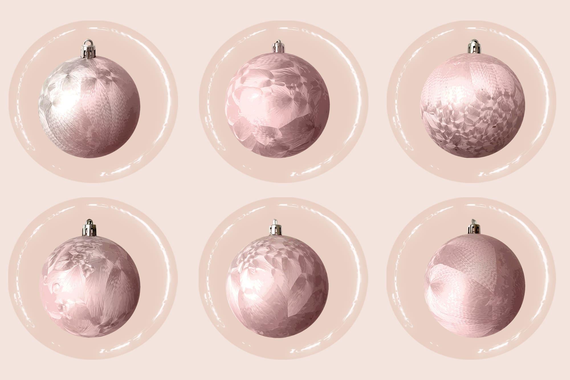 496 Christmas Illustrations: Christmas Vectors Bundle SVG, EPS, AI - Pink Christmas Balls c