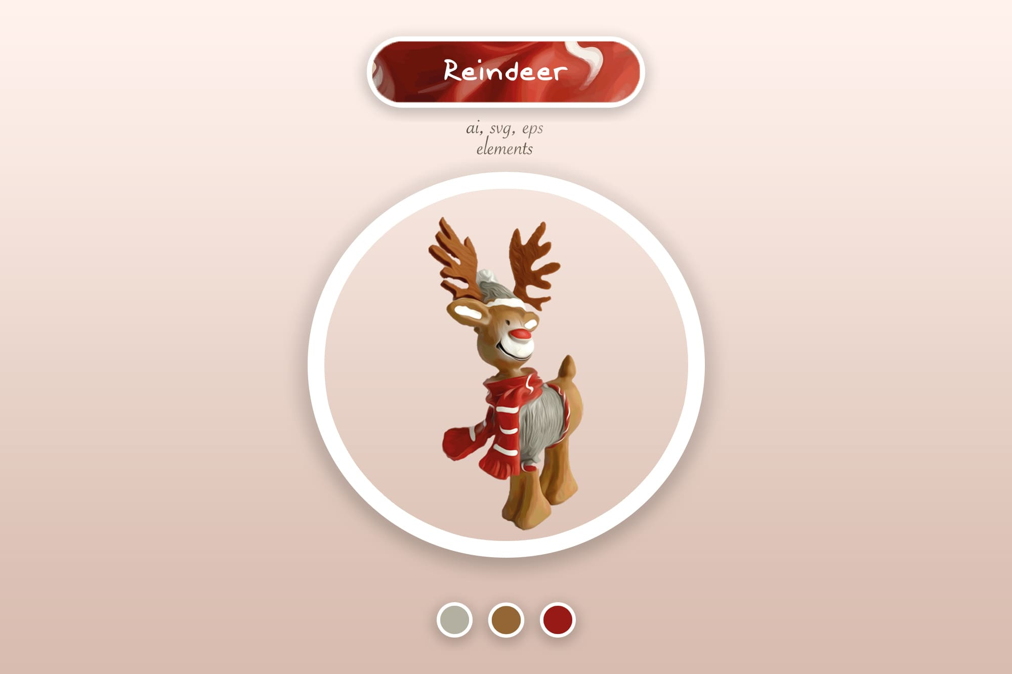 496 Christmas Illustrations: Christmas Vectors Bundle SVG, EPS, AI - Reindeer a