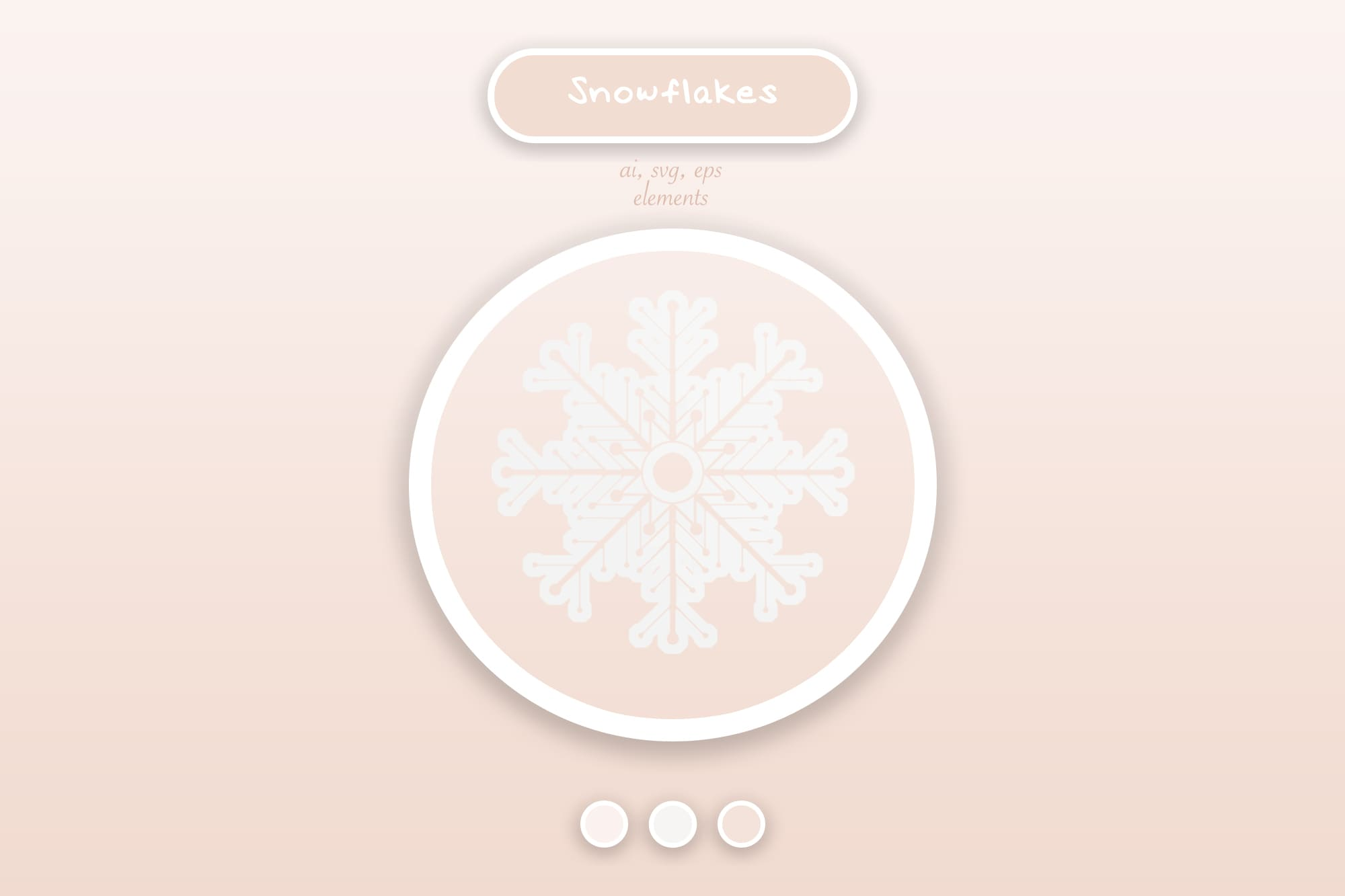 496 Christmas Illustrations: Christmas Vectors Bundle SVG, EPS, AI - Snowflakes 3a