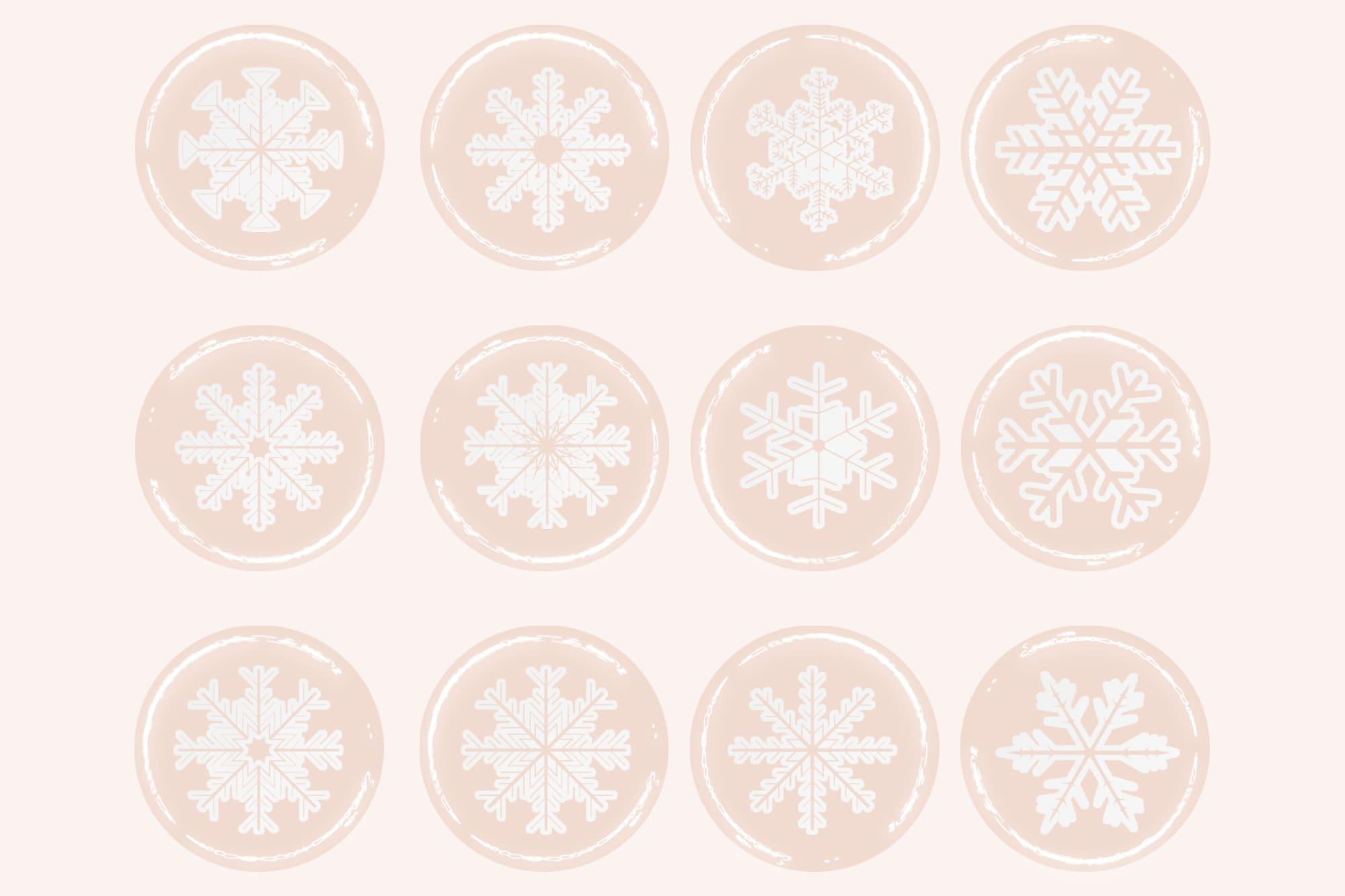 496 Christmas Illustrations: Christmas Vectors Bundle SVG, EPS, AI - Snowflakes 3c