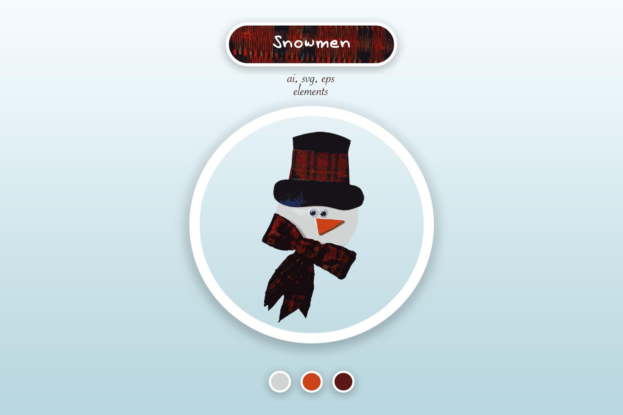 496 Christmas Illustrations: Christmas Vectors Bundle SVG, EPS, AI - Snowmen 1a