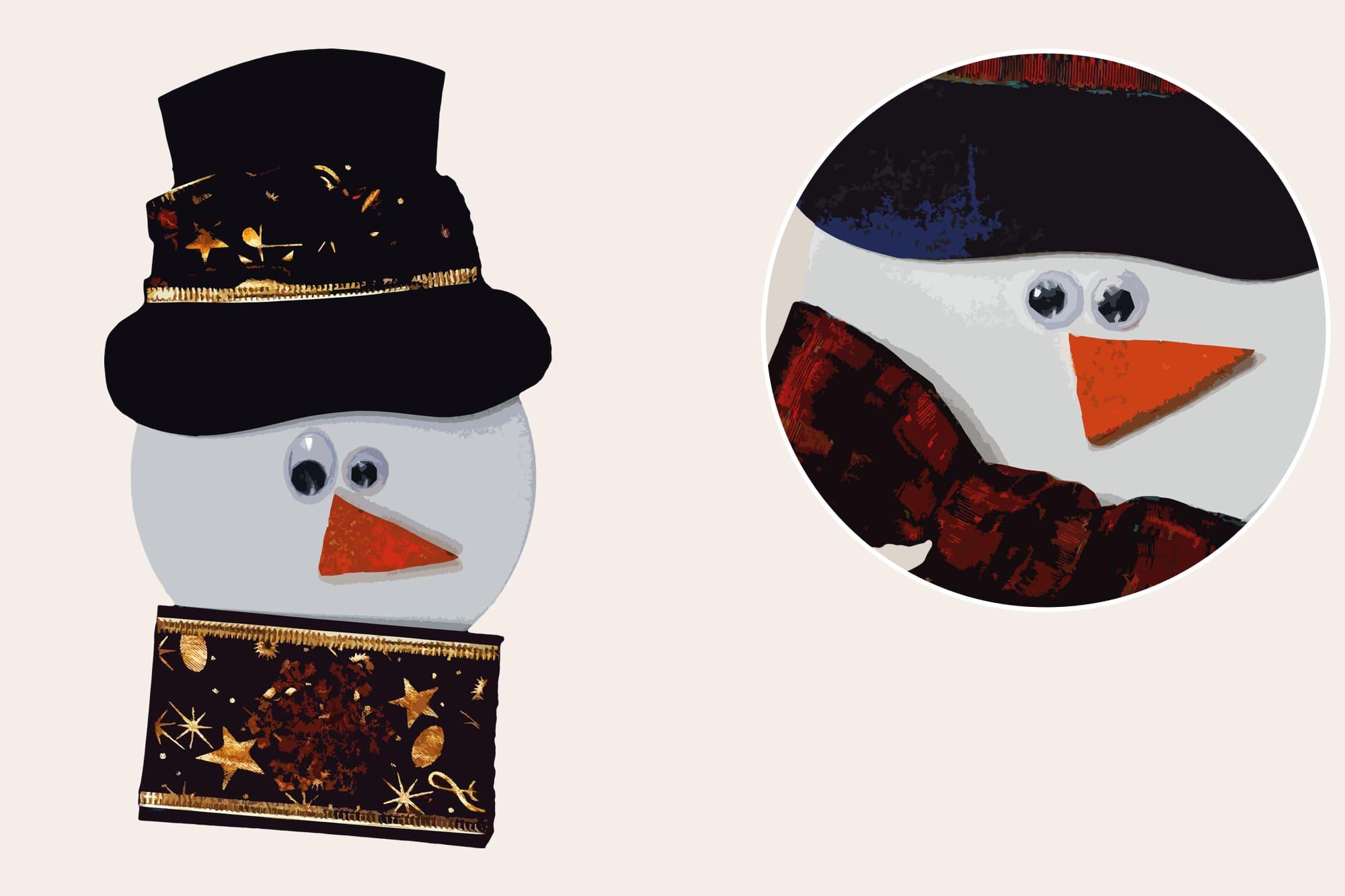 496 Christmas Illustrations: Christmas Vectors Bundle SVG, EPS, AI - Snowmen 1b