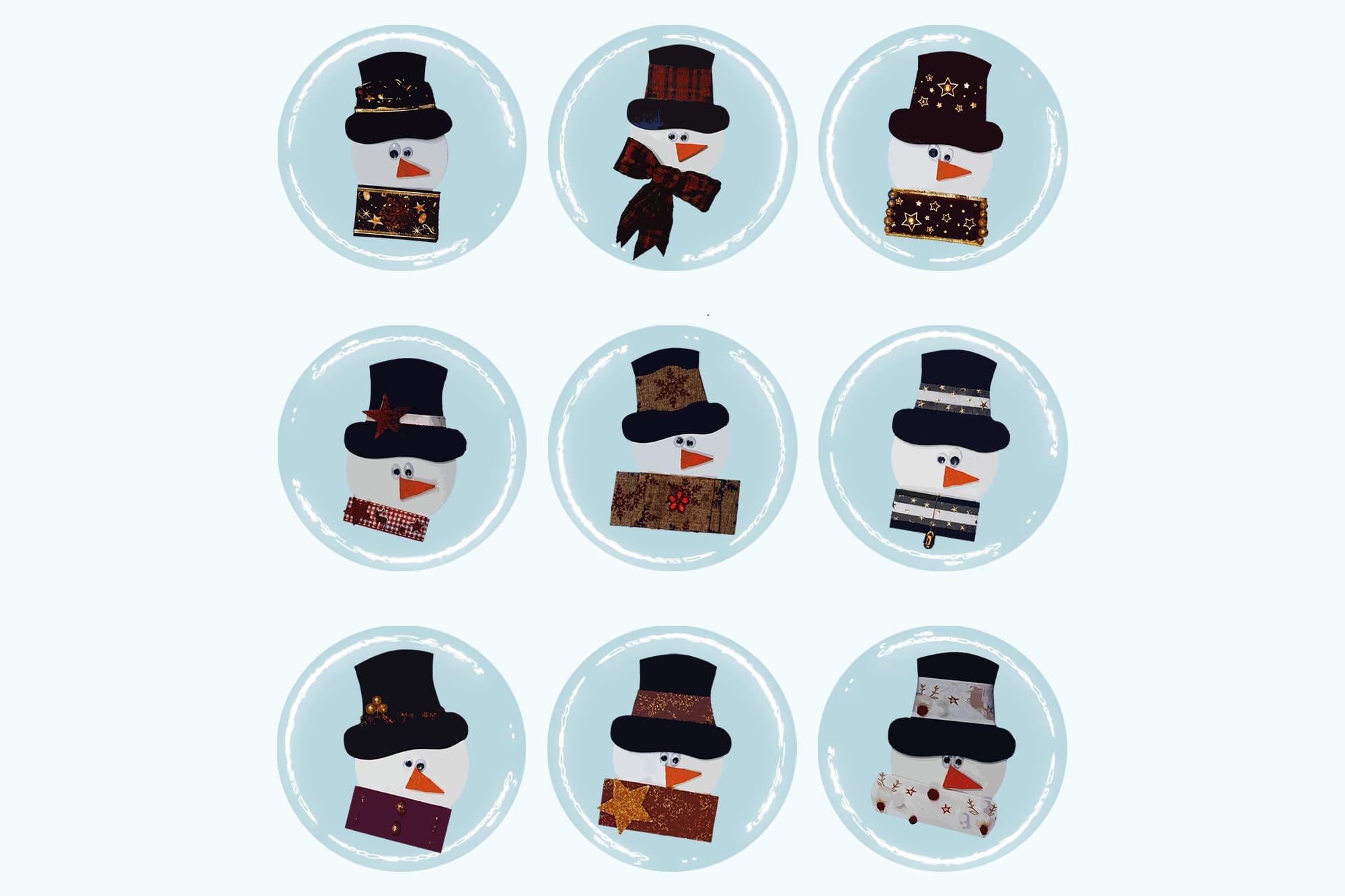 496 Christmas Illustrations: Christmas Vectors Bundle SVG, EPS, AI - Snowmen 1c