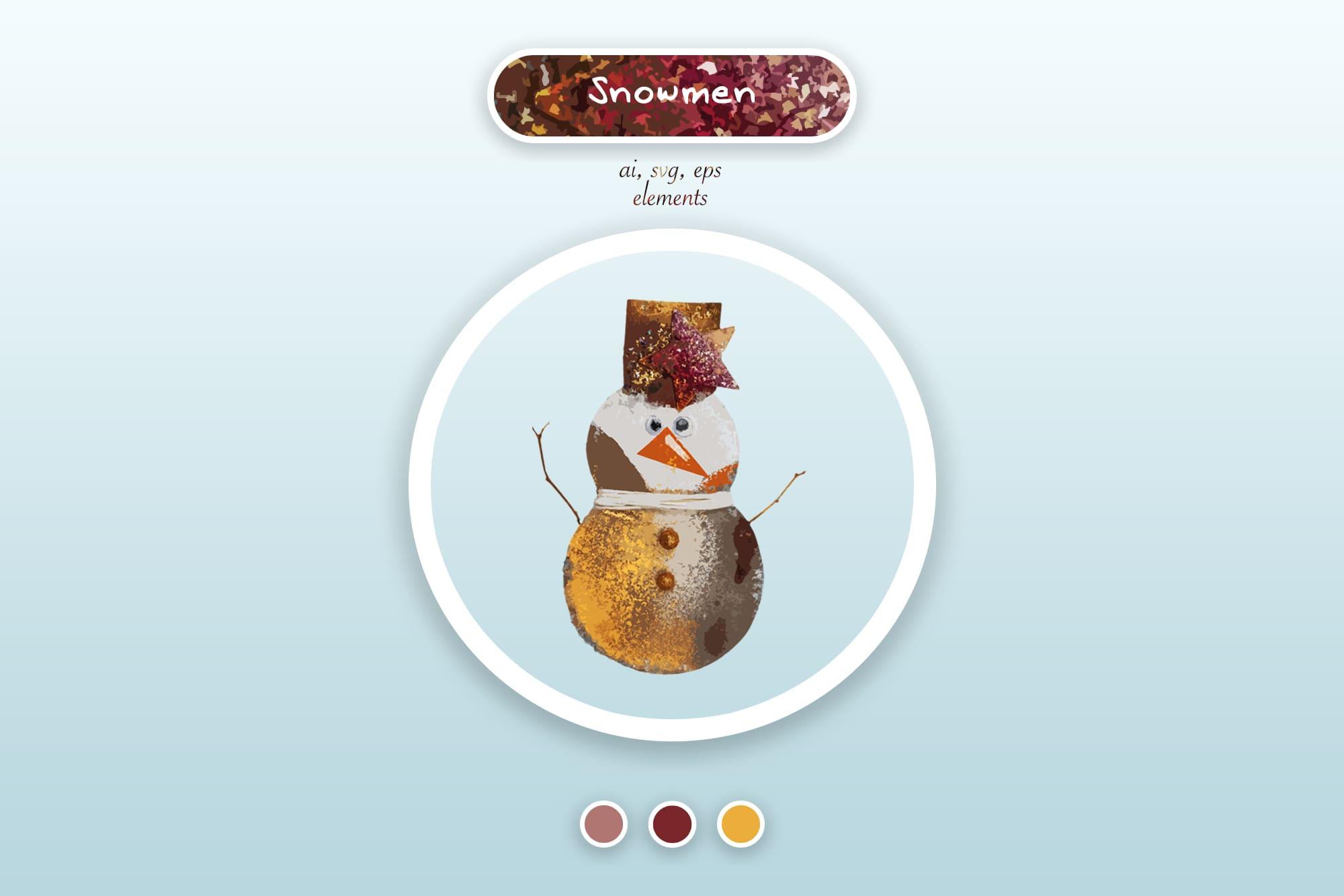 496 Christmas Illustrations: Christmas Vectors Bundle SVG, EPS, AI - Snowmen 2a