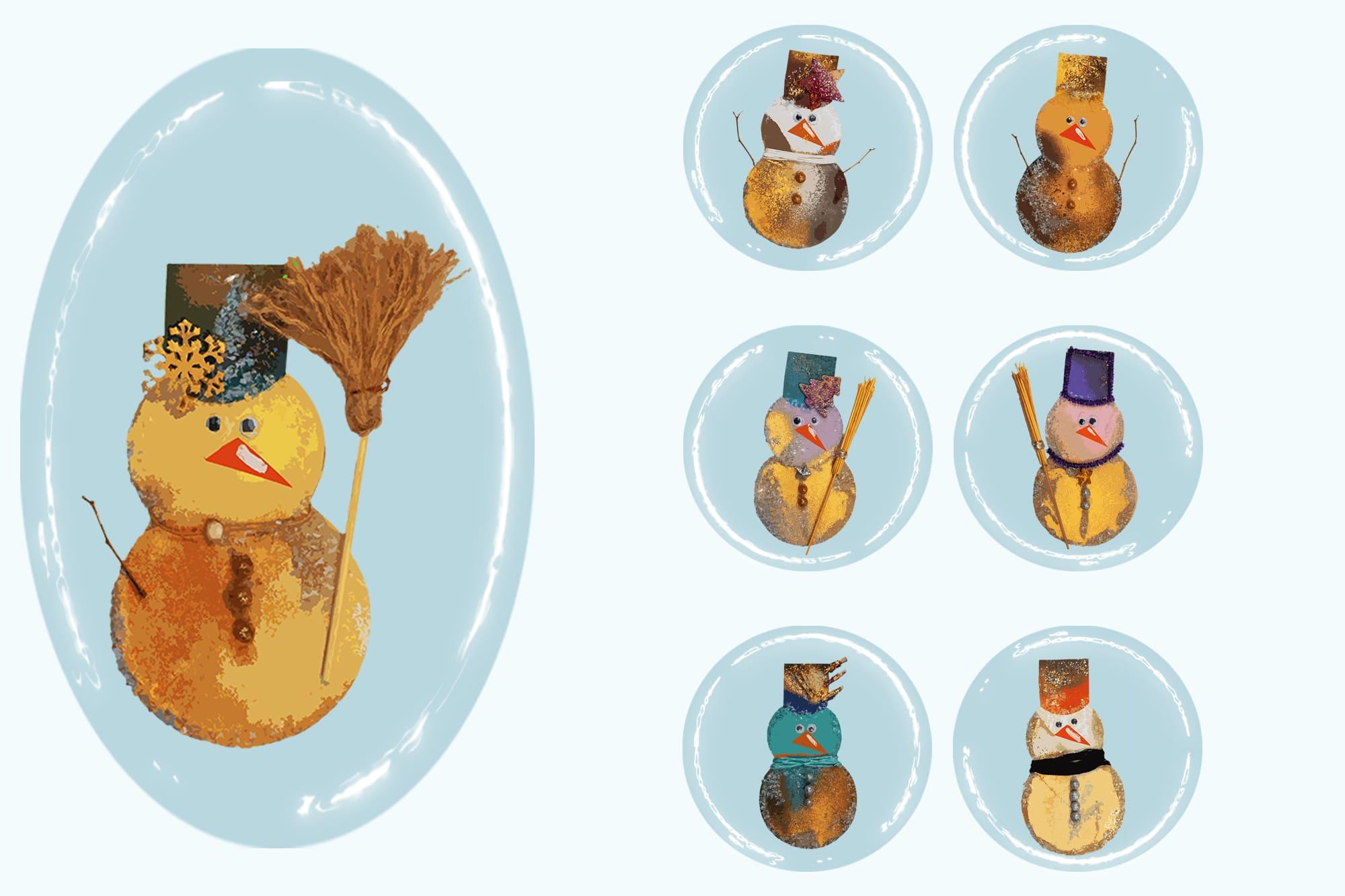496 Christmas Illustrations: Christmas Vectors Bundle SVG, EPS, AI - Snowmen 2c