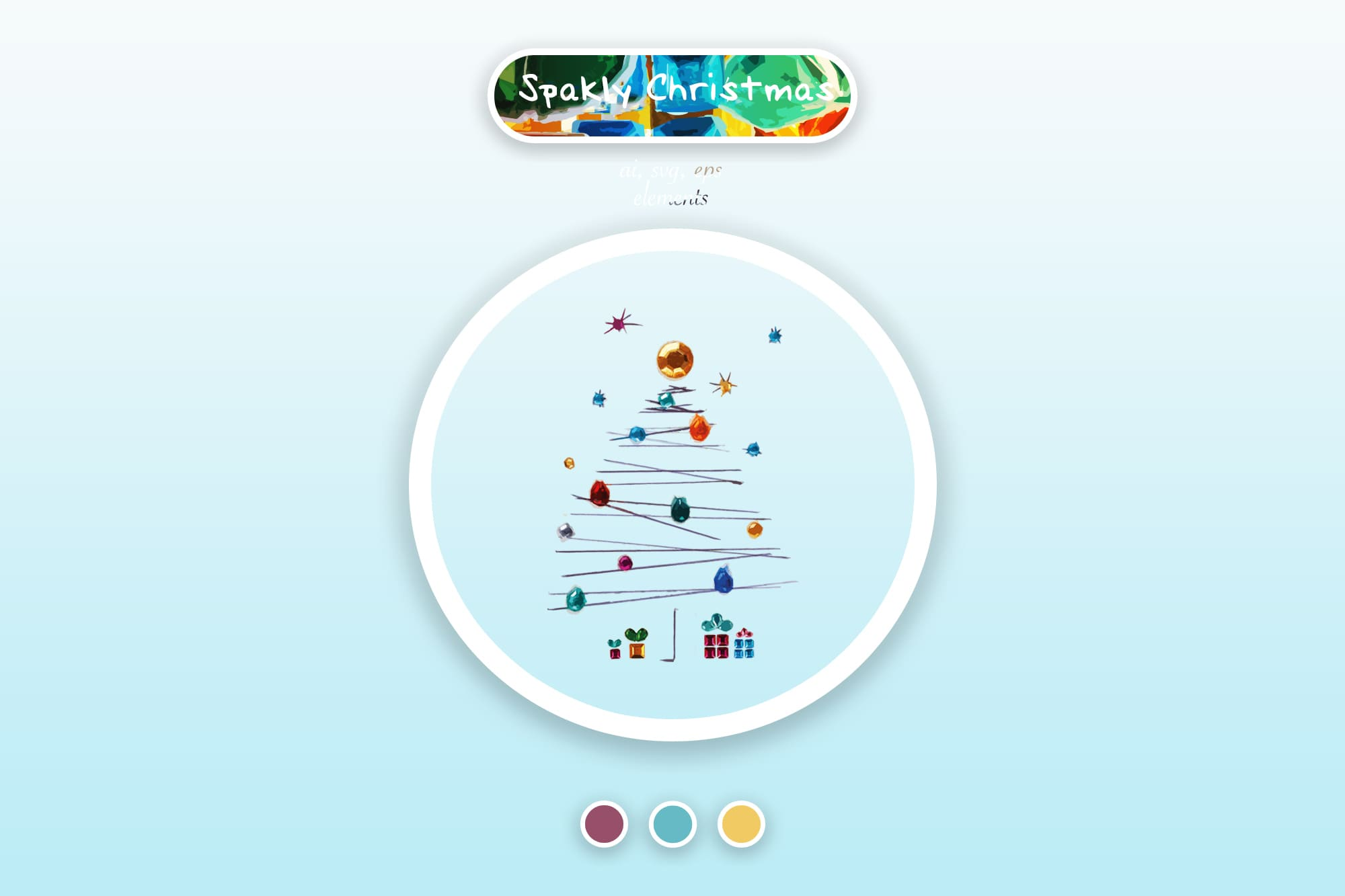 496 Christmas Illustrations: Christmas Vectors Bundle SVG, EPS, AI - Sparkly Christmas a