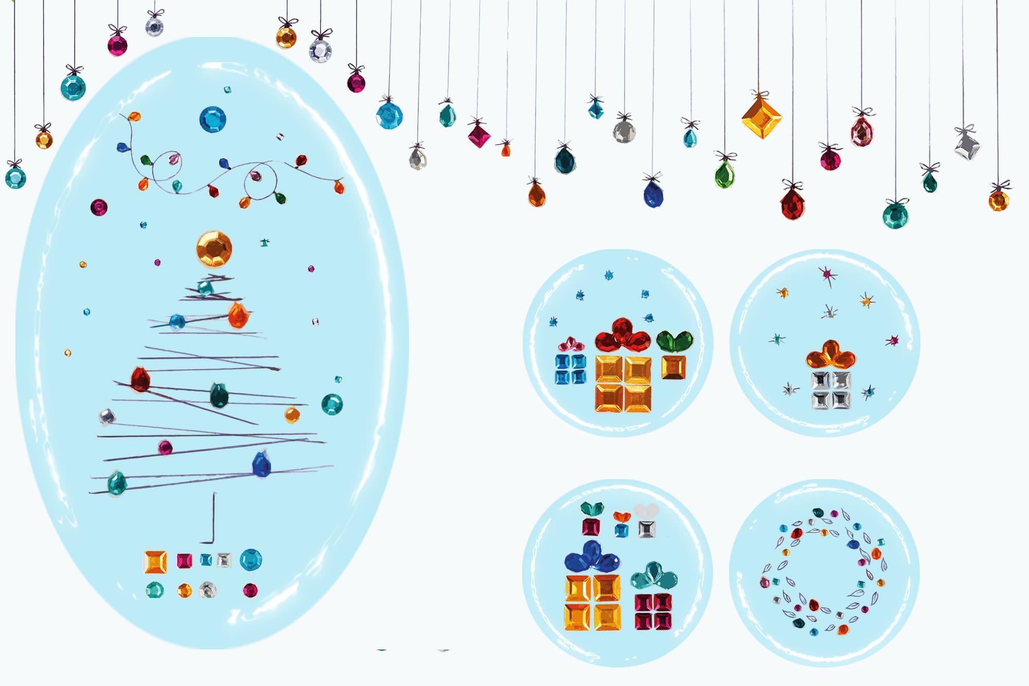 496 Christmas Illustrations: Christmas Vectors Bundle SVG, EPS, AI - Sparkly Christmas c