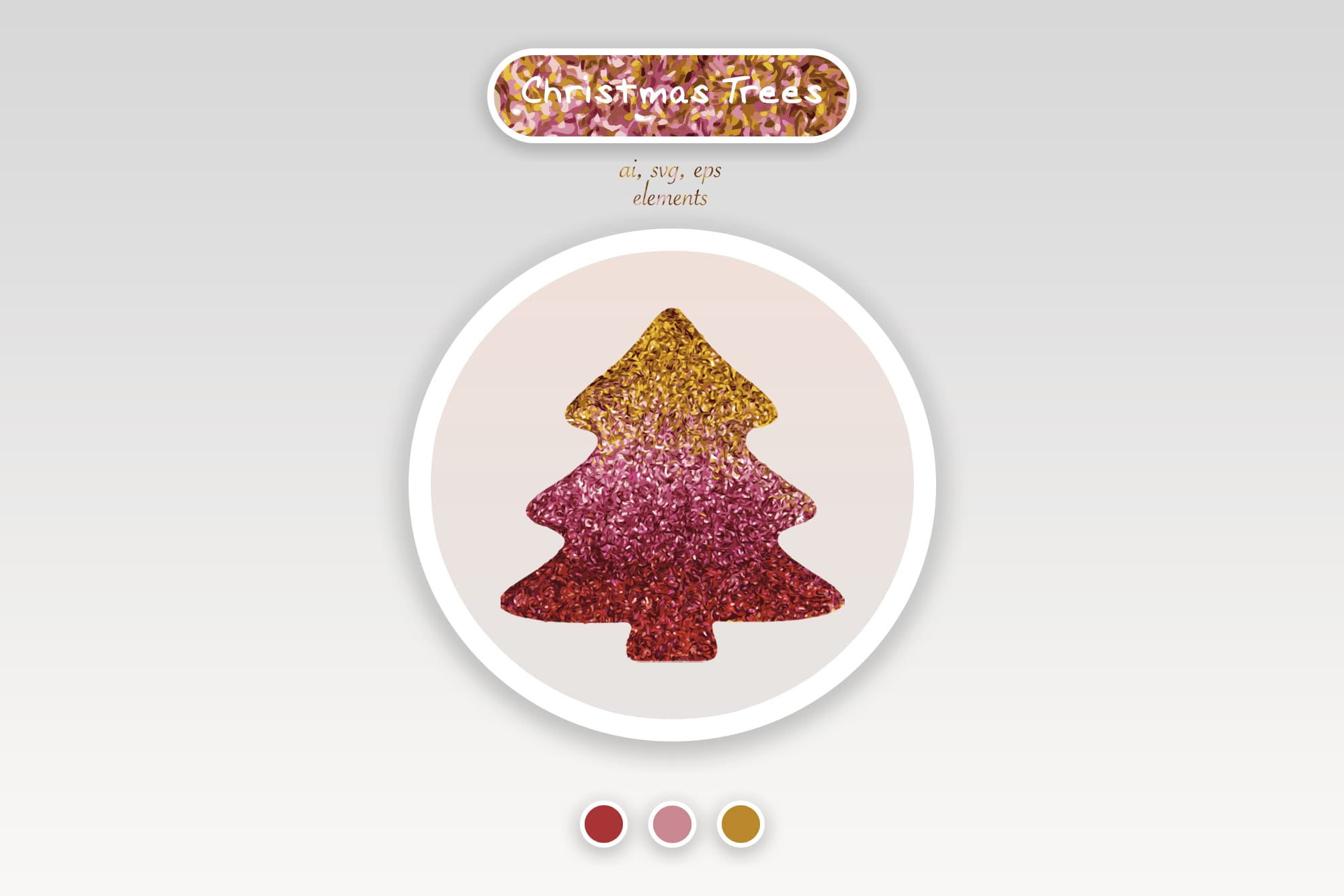 496 Christmas Illustrations: Christmas Vectors Bundle SVG, EPS, AI - Trees 1a
