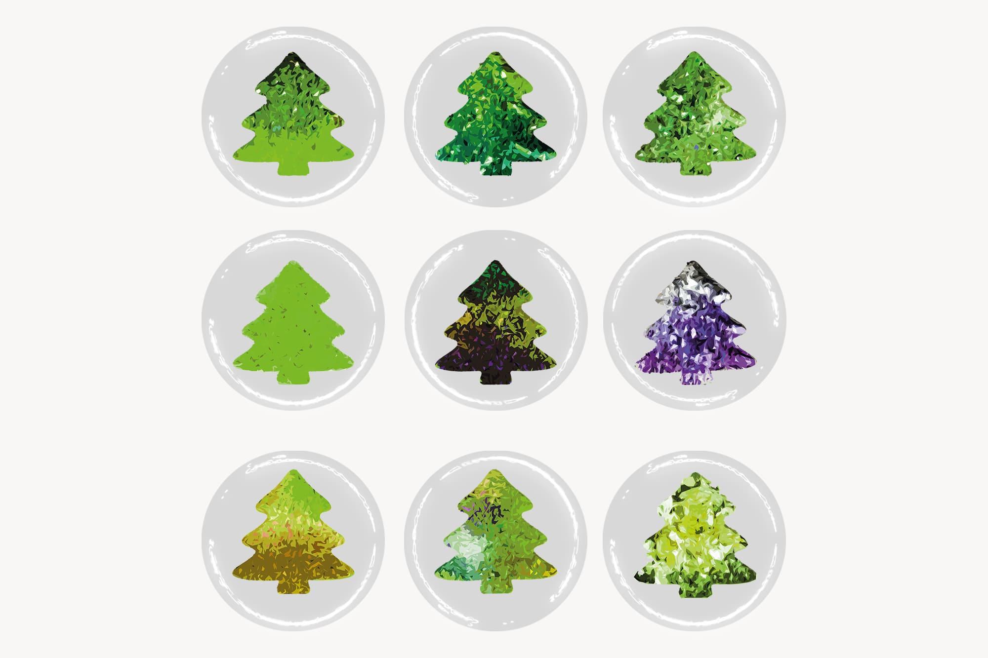 496 Christmas Illustrations: Christmas Vectors Bundle SVG, EPS, AI - Trees 2c