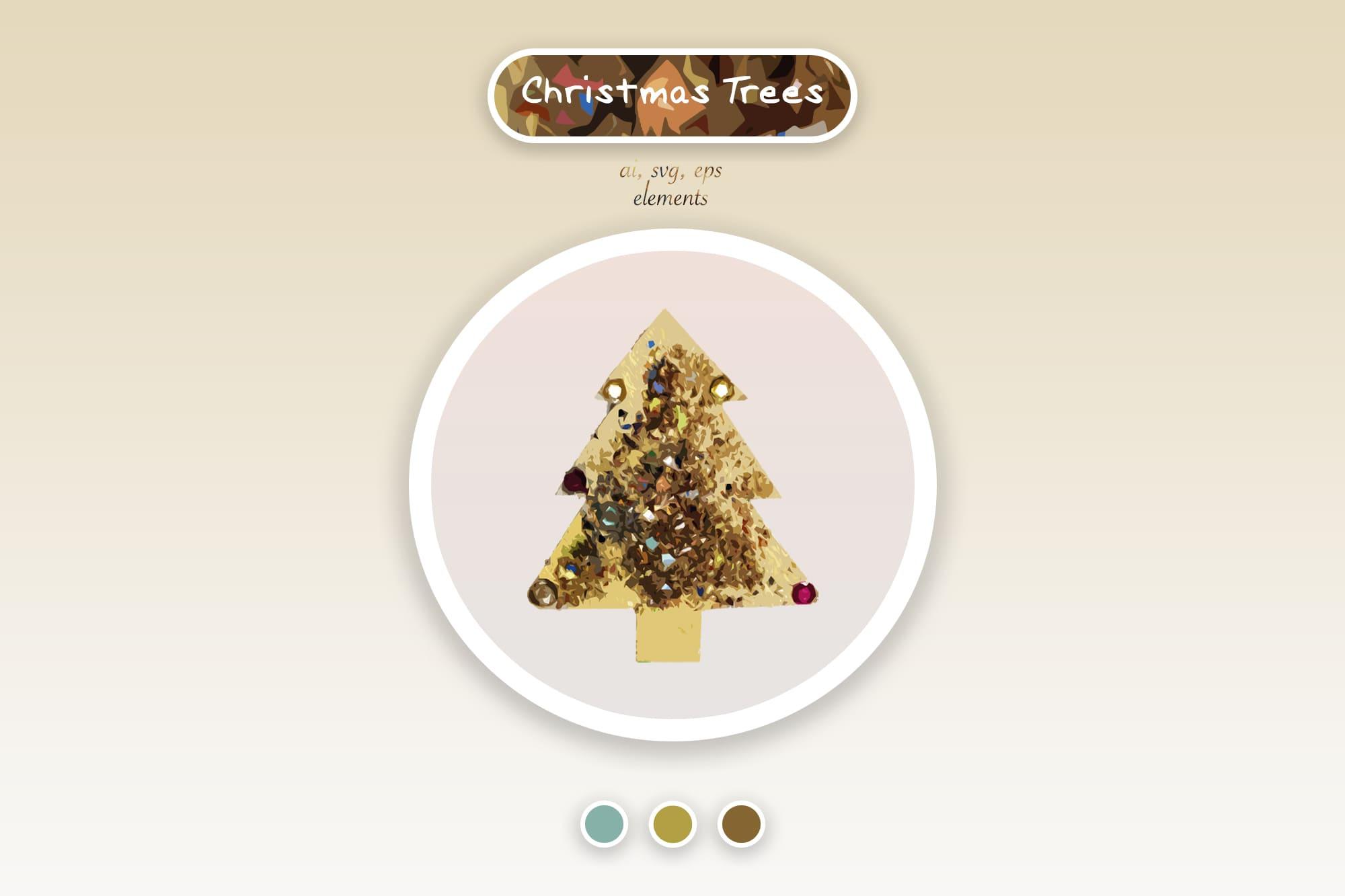 496 Christmas Illustrations: Christmas Vectors Bundle SVG, EPS, AI - Trees 3a