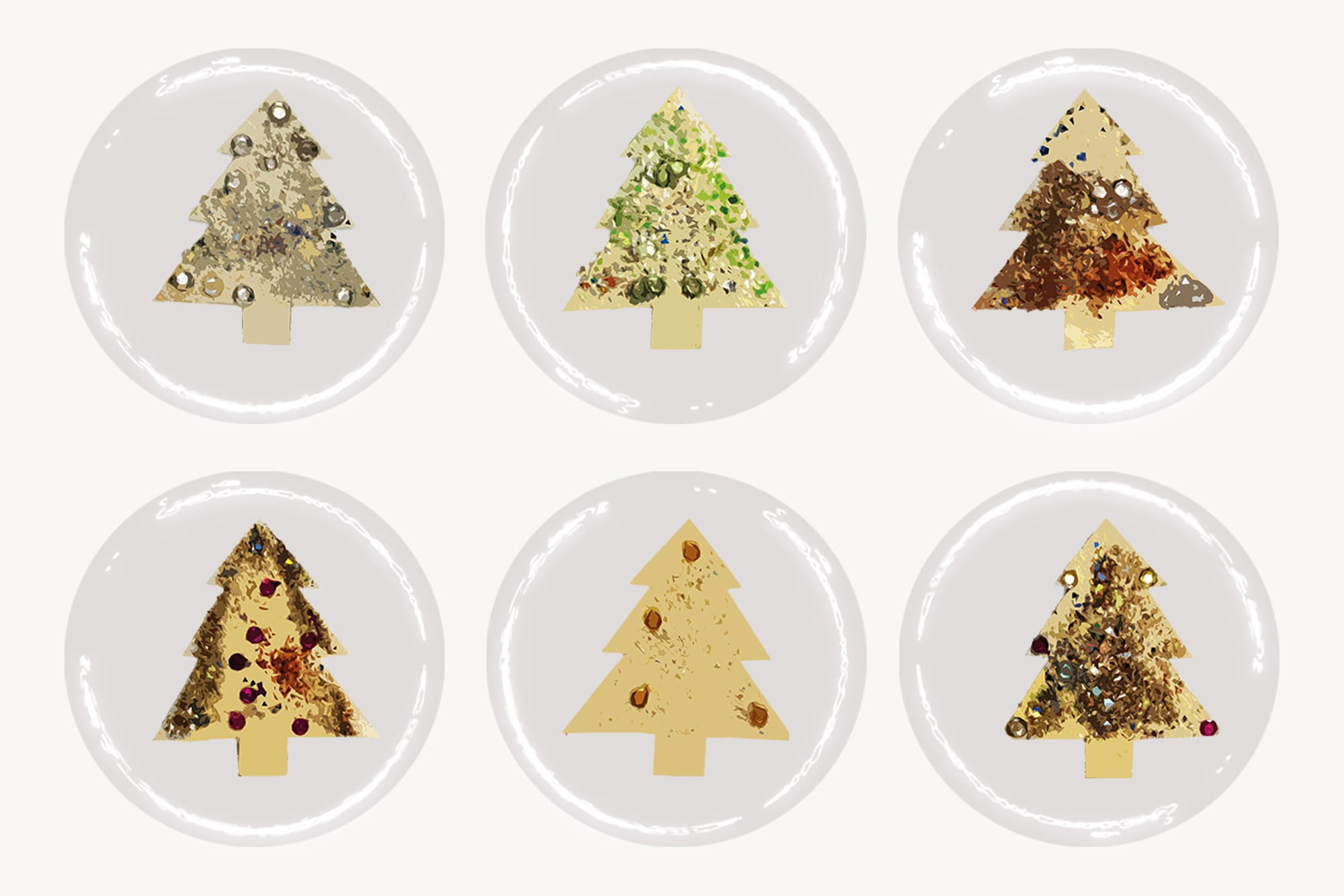 496 Christmas Illustrations: Christmas Vectors Bundle SVG, EPS, AI - Trees 3c