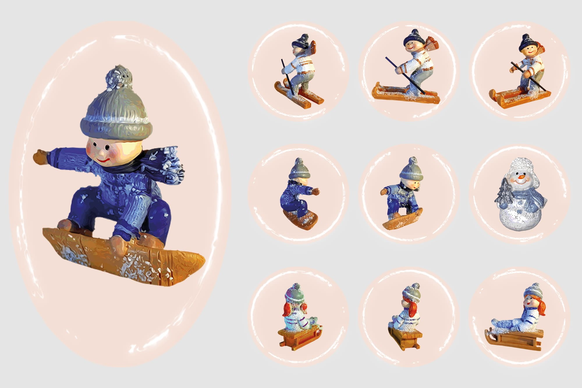 496 Christmas Illustrations: Christmas Vectors Bundle SVG, EPS, AI - Winter fun 1c