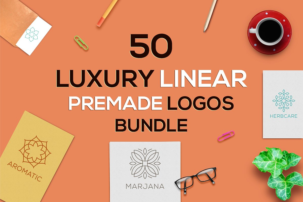50 Luxury Logo Bundle: Linear Premade Logo Pack - aaaa