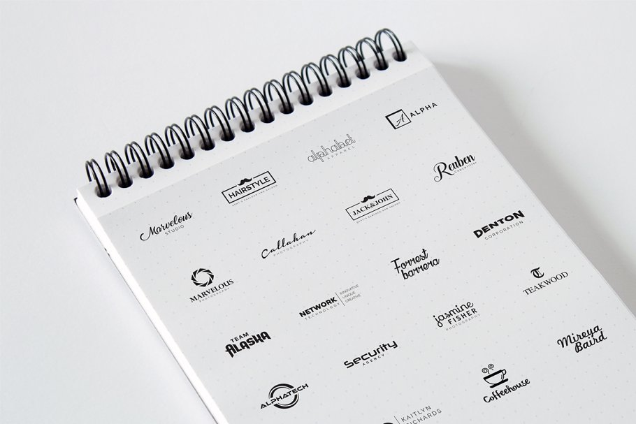 Spring notebook with logos.