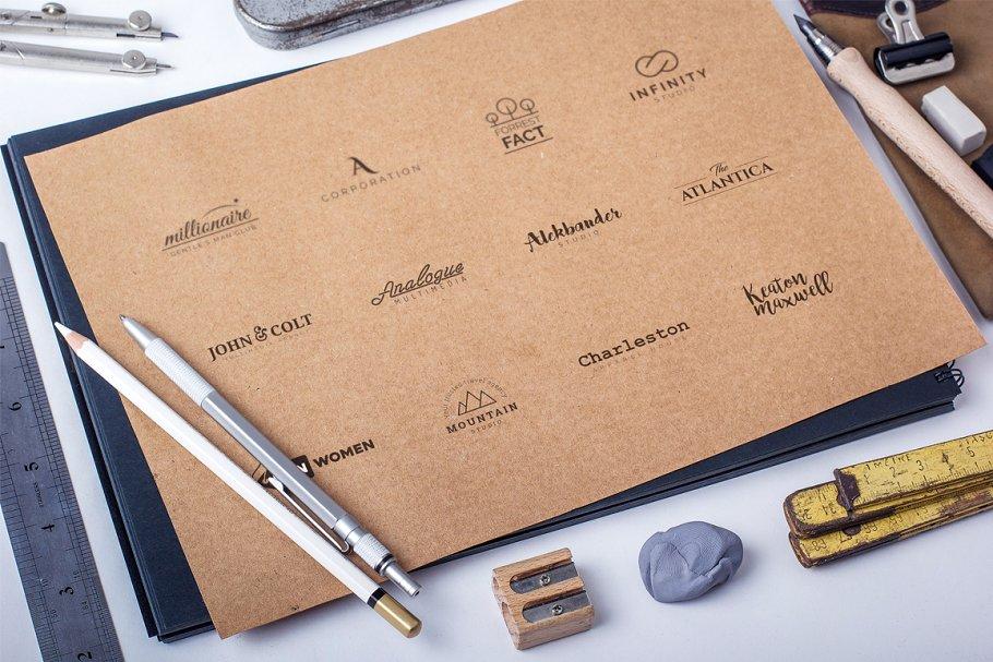 Beautiful logos in the beige paper.