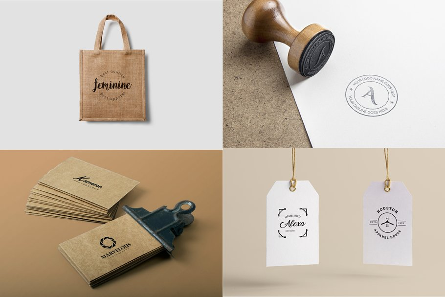 These logos can be used on any surface, from bottles to eco bags.