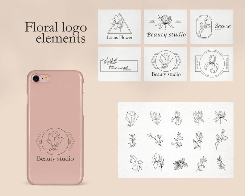 Vintage Floral Logo: 31 Floral Elements for Logo SVG - il 794xN.2706076254 riz4