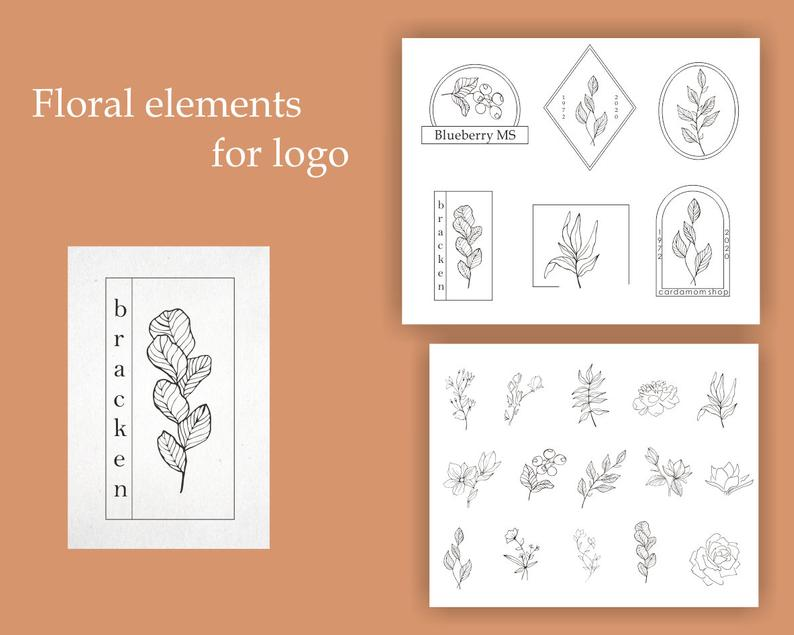 29 Floral Elements Vector: 15 Floral Elements, 8 Frames and 6 Combinations - il 794xN.2731876276 asqu