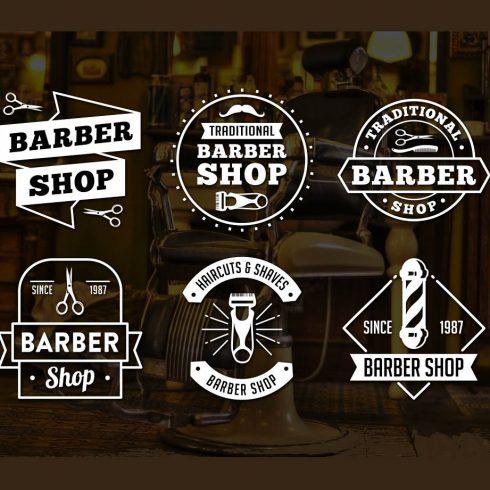 Vintage Barber Shop Logo PNG & EPS - main 1 490x490