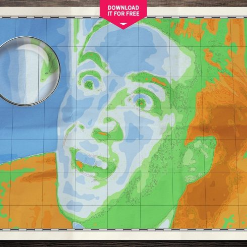 Free World Map Wall Poster: Nicolas Cage Map Wall Art Poster - map 490x490