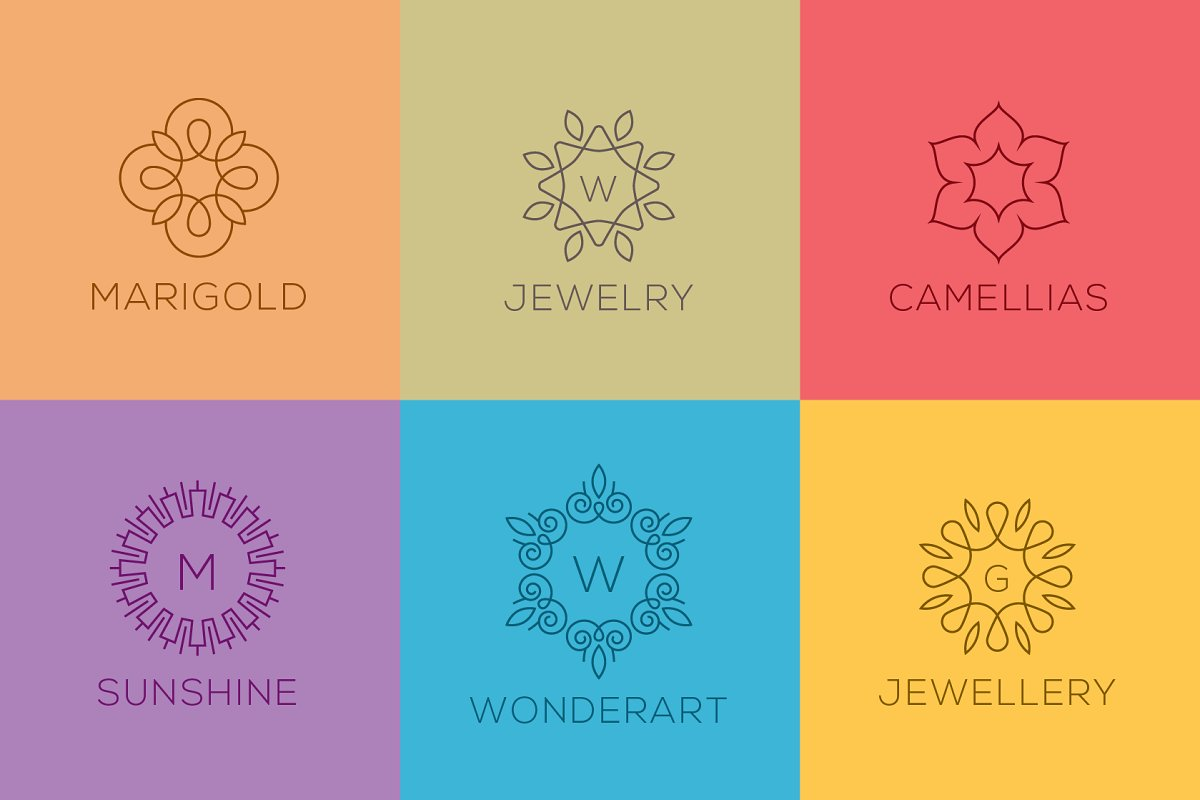 50 Luxury Logo Bundle: Linear Premade Logo Pack - preview 02 .png
