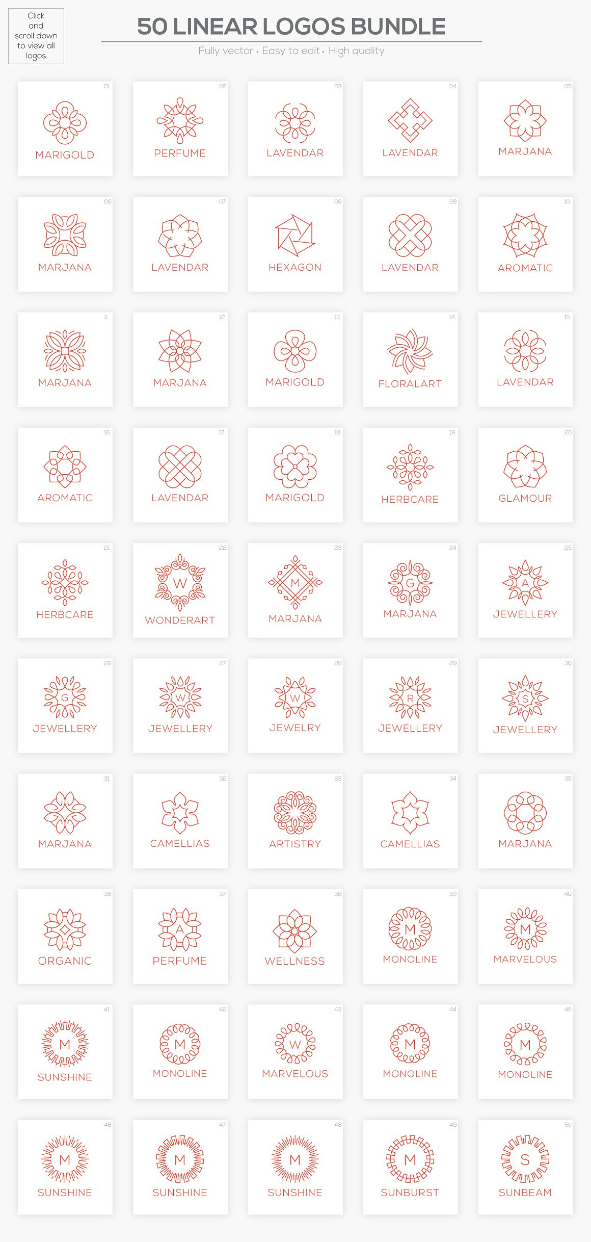 50 Luxury Logo Bundle: Linear Premade Logo Pack - preview all